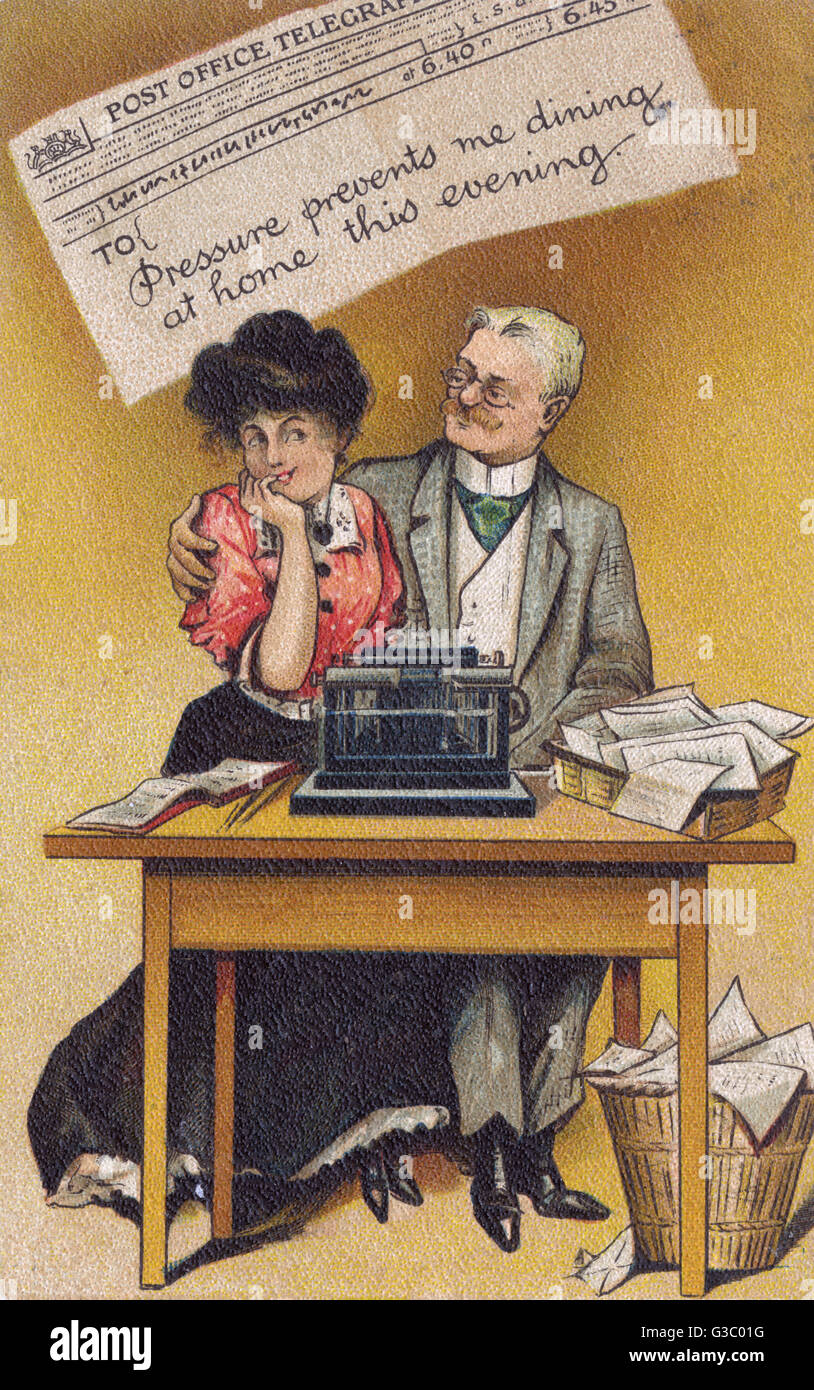 Telegram excuse sent by an older man to his wife to disguise the affair he is having with his young Secretary.  - Stock Image