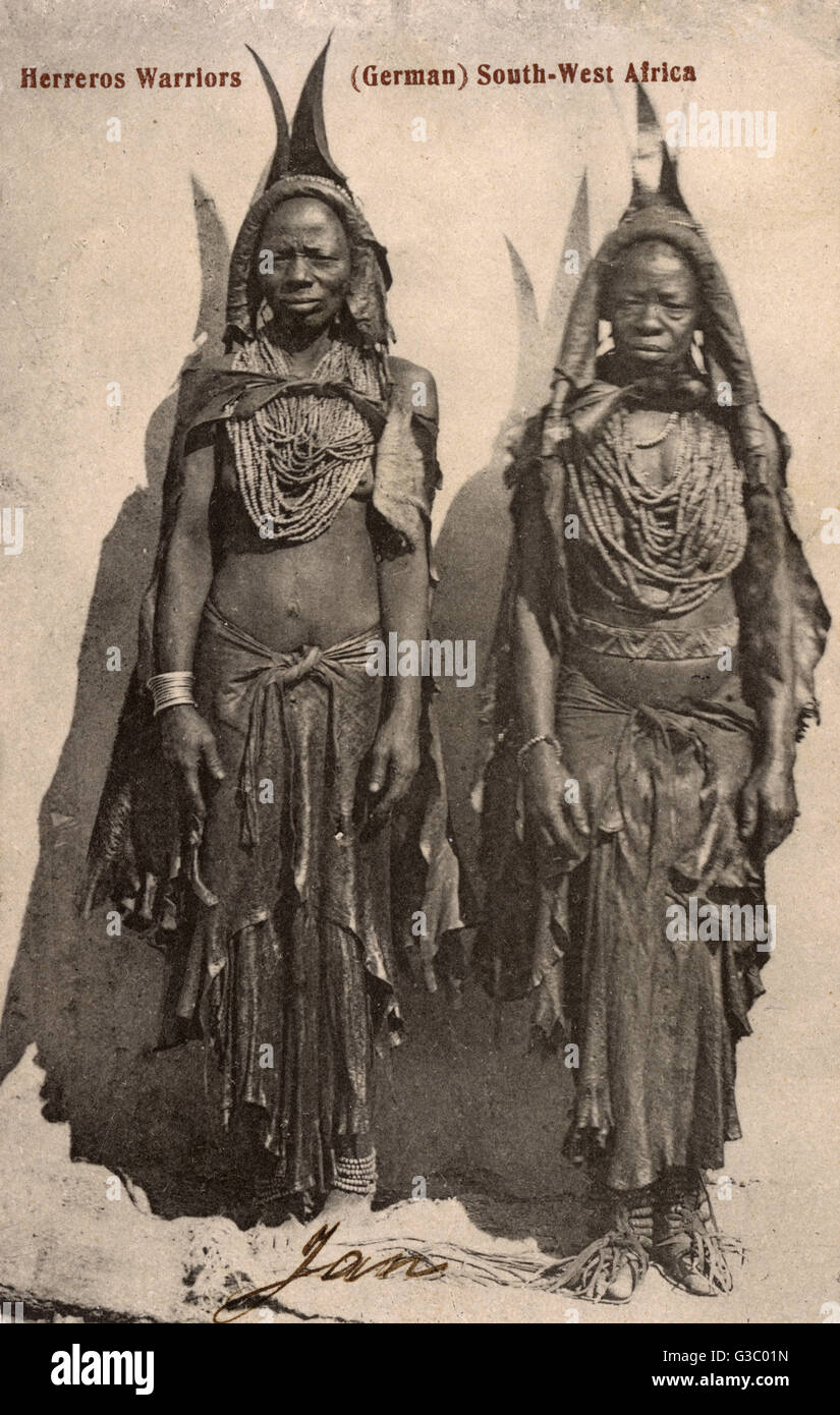 Herero Warriors - Namibia (at that point German South West Africa). The Herero are an ethnic group inhabiting parts - Stock Image