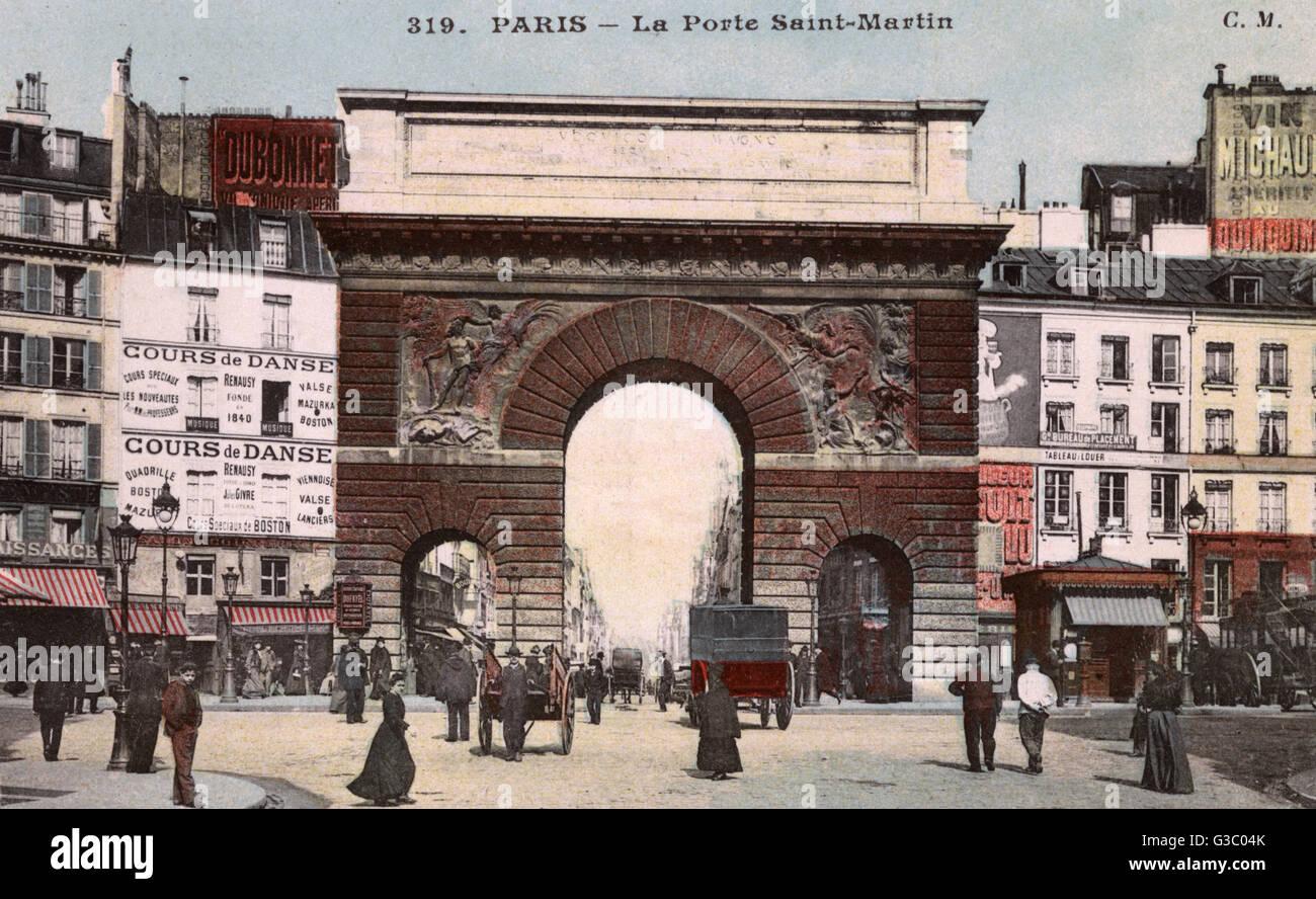 Porte Saint Martin, Paris, France - built in 1674.     Date: 1911 - Stock Image