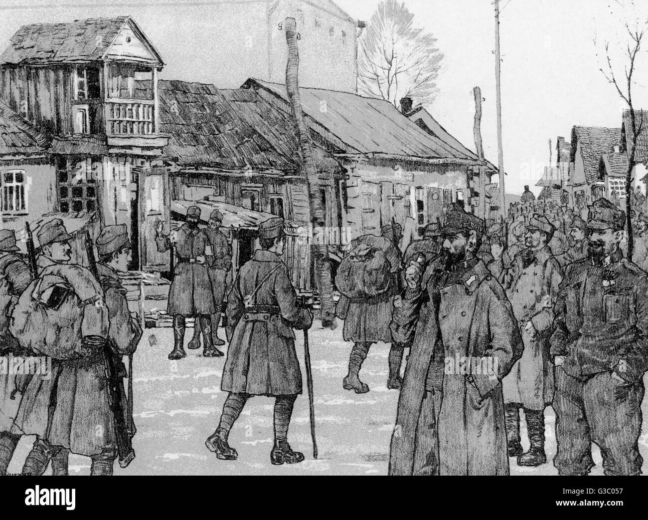 WW1 - German troops on the Eastern Front - behind the lines - the arrival of a battalion (illustration caption in Stock Photo