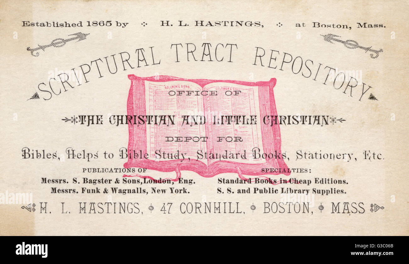 Trade card for the Scriptural Tract Repository, run by H L Hastings, Cornhill, Boston, Mass, USA.      Date: circa - Stock Image
