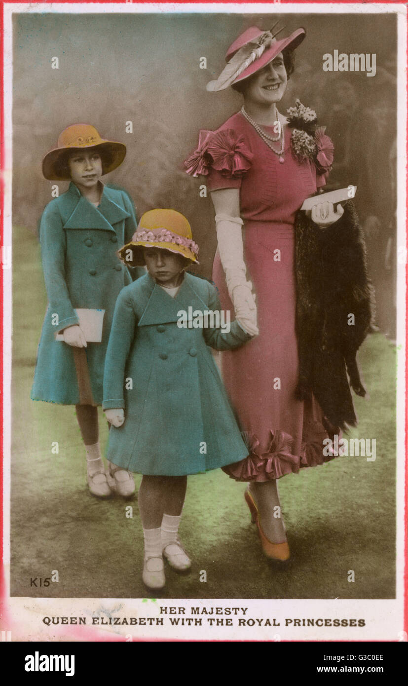 Queen Elizabeth (1900-2002) with Princesses Elizabeth (1926-) and Margaret (1930-2002) pictured in the mid-1930s - Stock Image