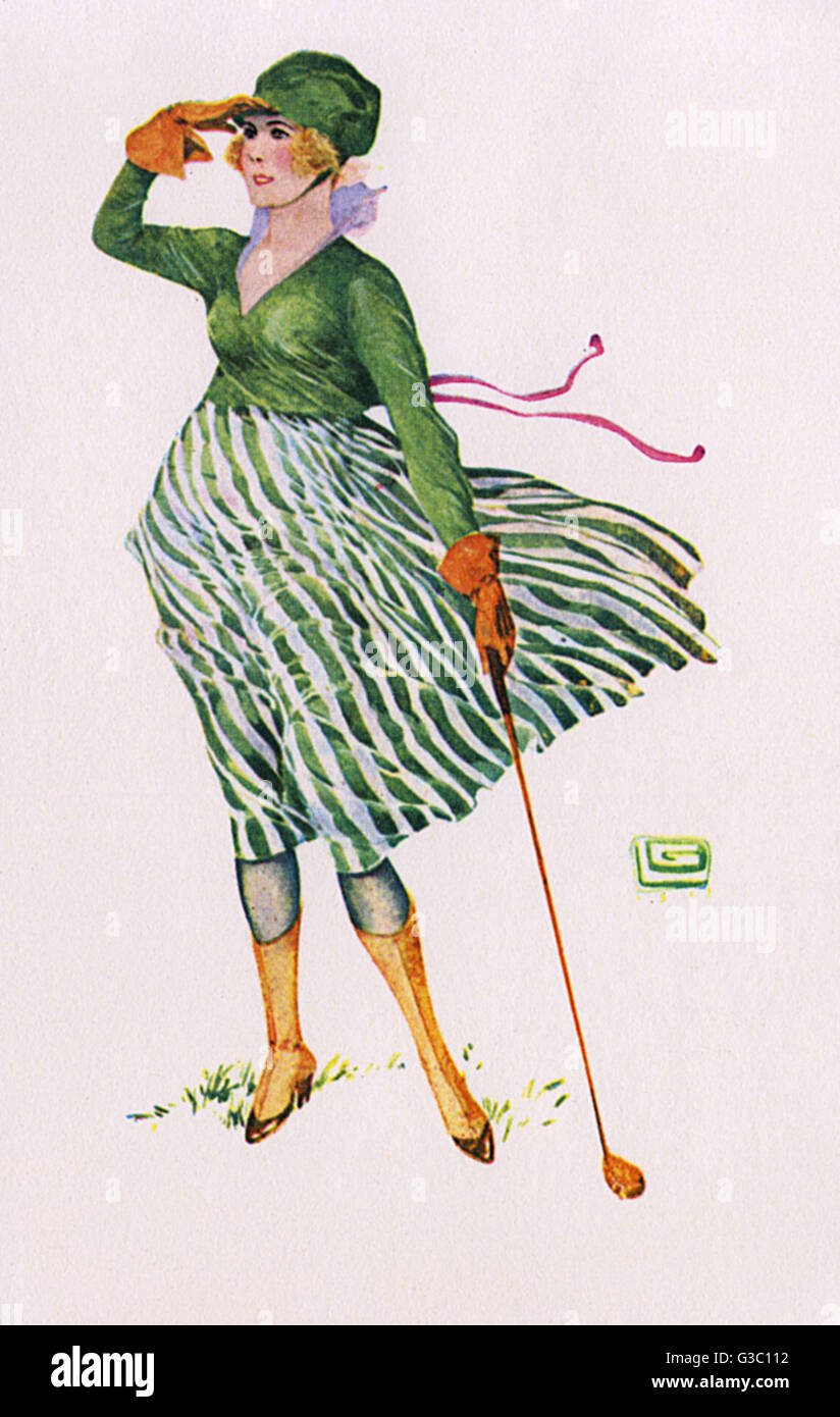 Lady golfer looking down the fairway for her drive, which appears to have travelled a decent distance.     Date: - Stock Image