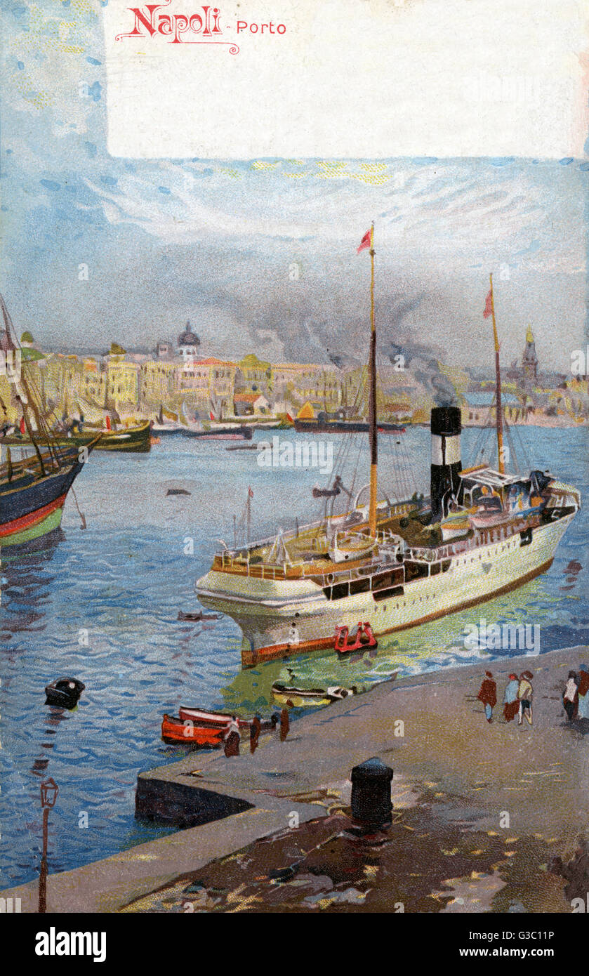 The port of Naples - Departing Ferry     Date: 1905 - Stock Image