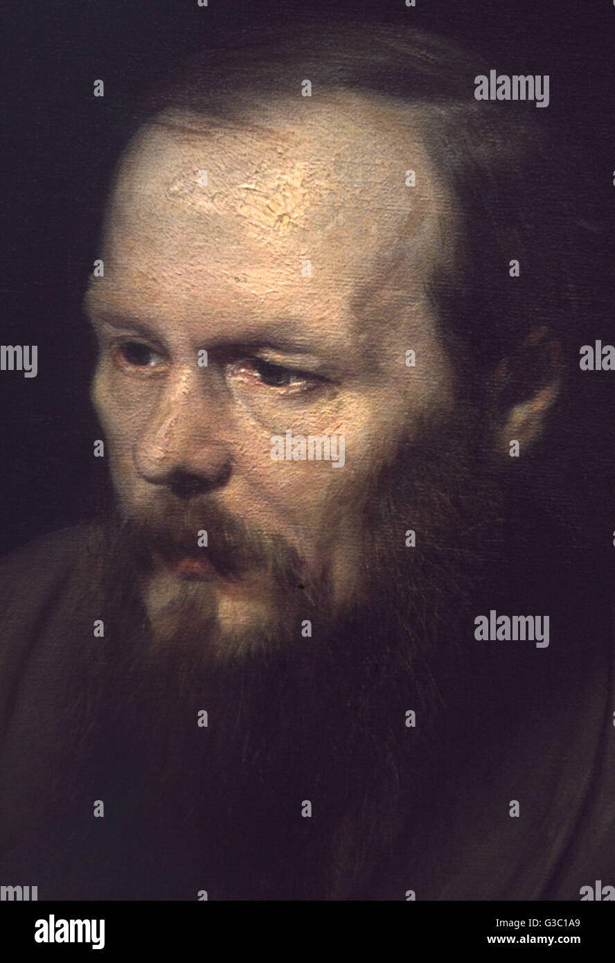 Fyodor Mikhailovich Dostoevsky (1821-1881), Russian writer and philosopher, seen here in a detail from an oil on - Stock Image