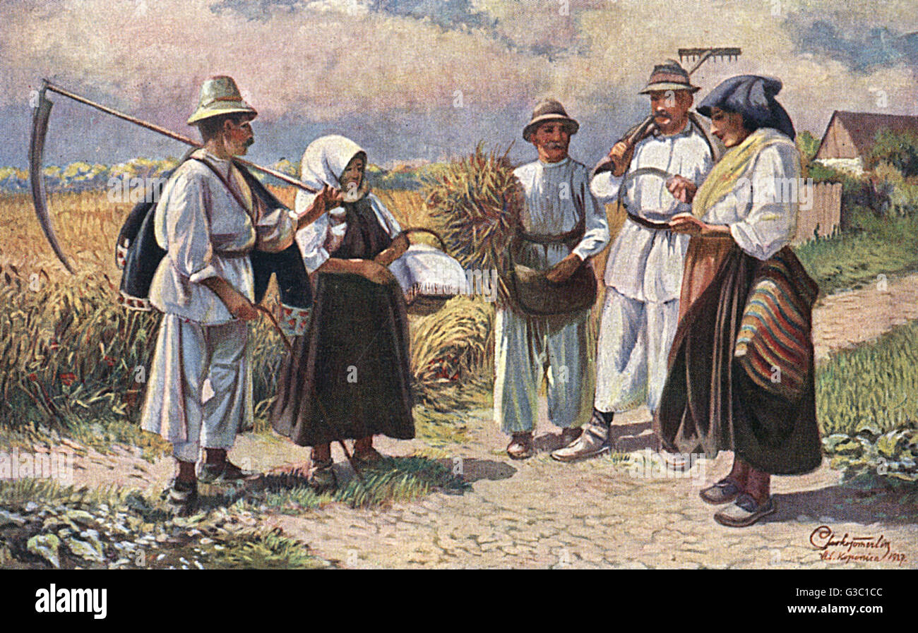 Peasant folk meet for a chat at the Crossroads in Slavonia, a historical region in eastern Croatia.     Date: circa - Stock Image