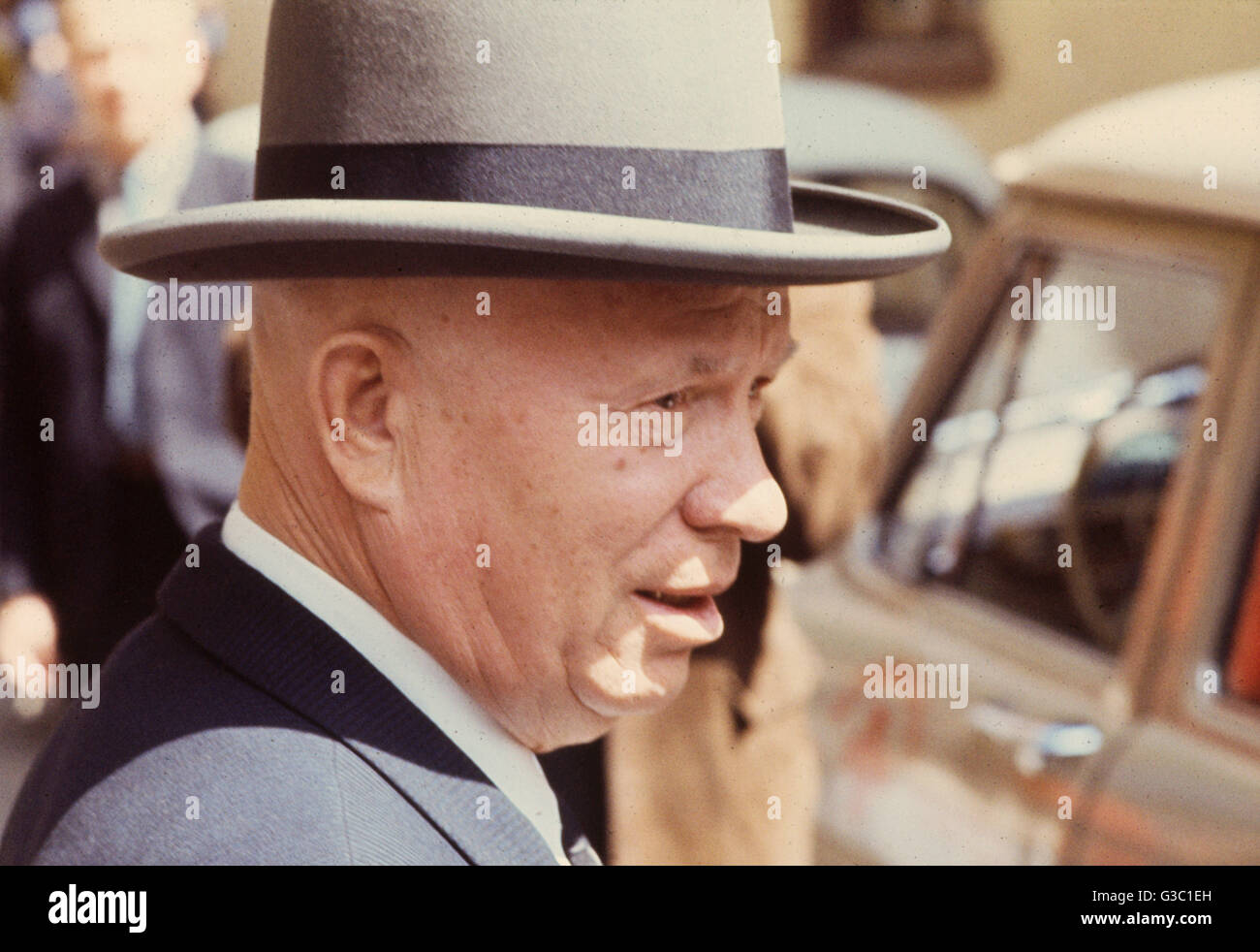 Nikita Sergeyevich Khrushchev (1894-1971), Russian Soviet leader, seen here in June 1966.      Date: 1966 - Stock Image