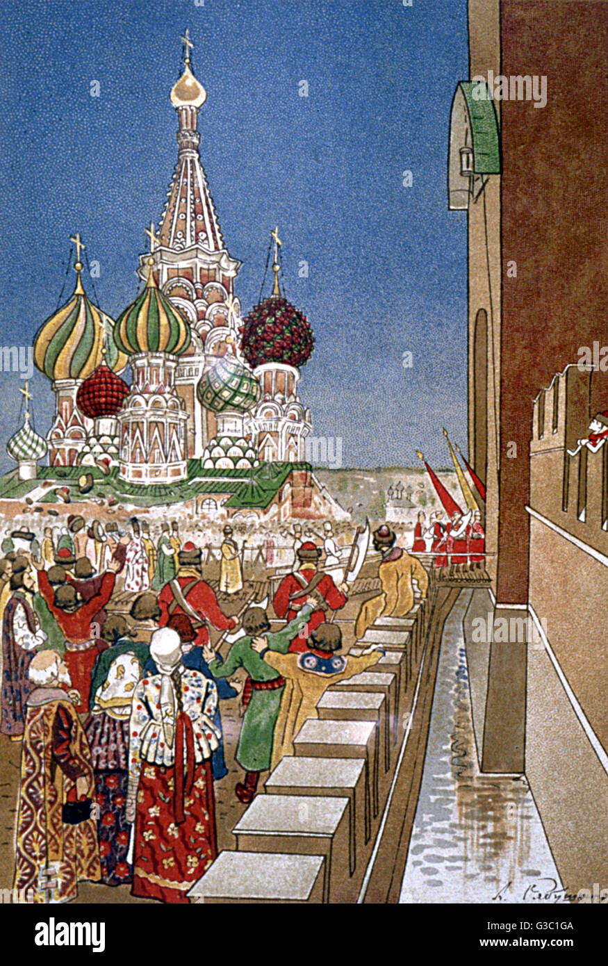 Opera programme illustration, A Life for the Tsar, by Glinka, from a gala performance at the Bolshoi Theatre on - Stock Image