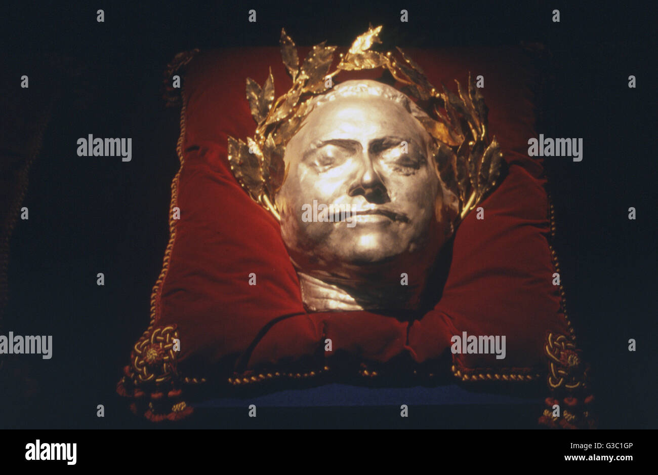 Peter the Great, Tsar of Russia, death mask in gold and silver.      Date: circa 1990s - Stock Image