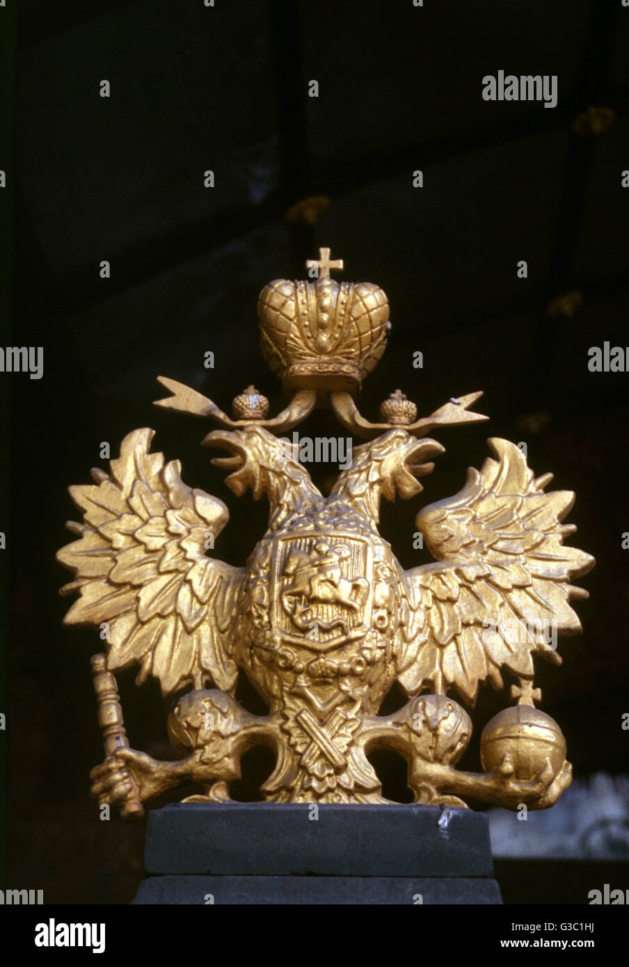 Romanov insignia of two eagles on Peter the Great's cabin (Domik Petra I), St Petersburg, Russia.  This small - Stock Image