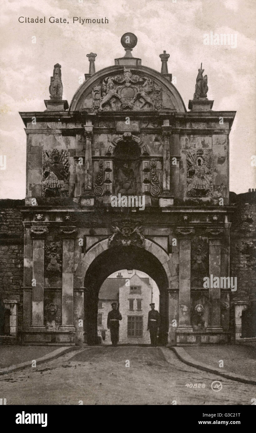 The Baroque main gate of the Royal Citadel, Plymouth, Devon     Date: circa 1910s - Stock Image