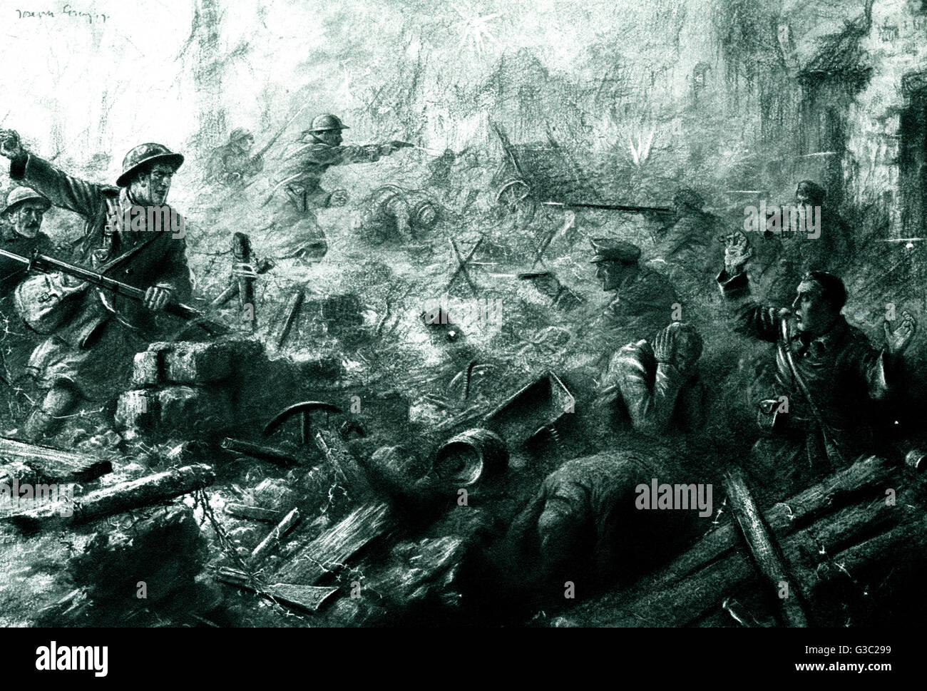 WW1 - Western Front - The Hindenbug Line (Siegfriedstellung), was a German defensive position of World War I, built Stock Photo