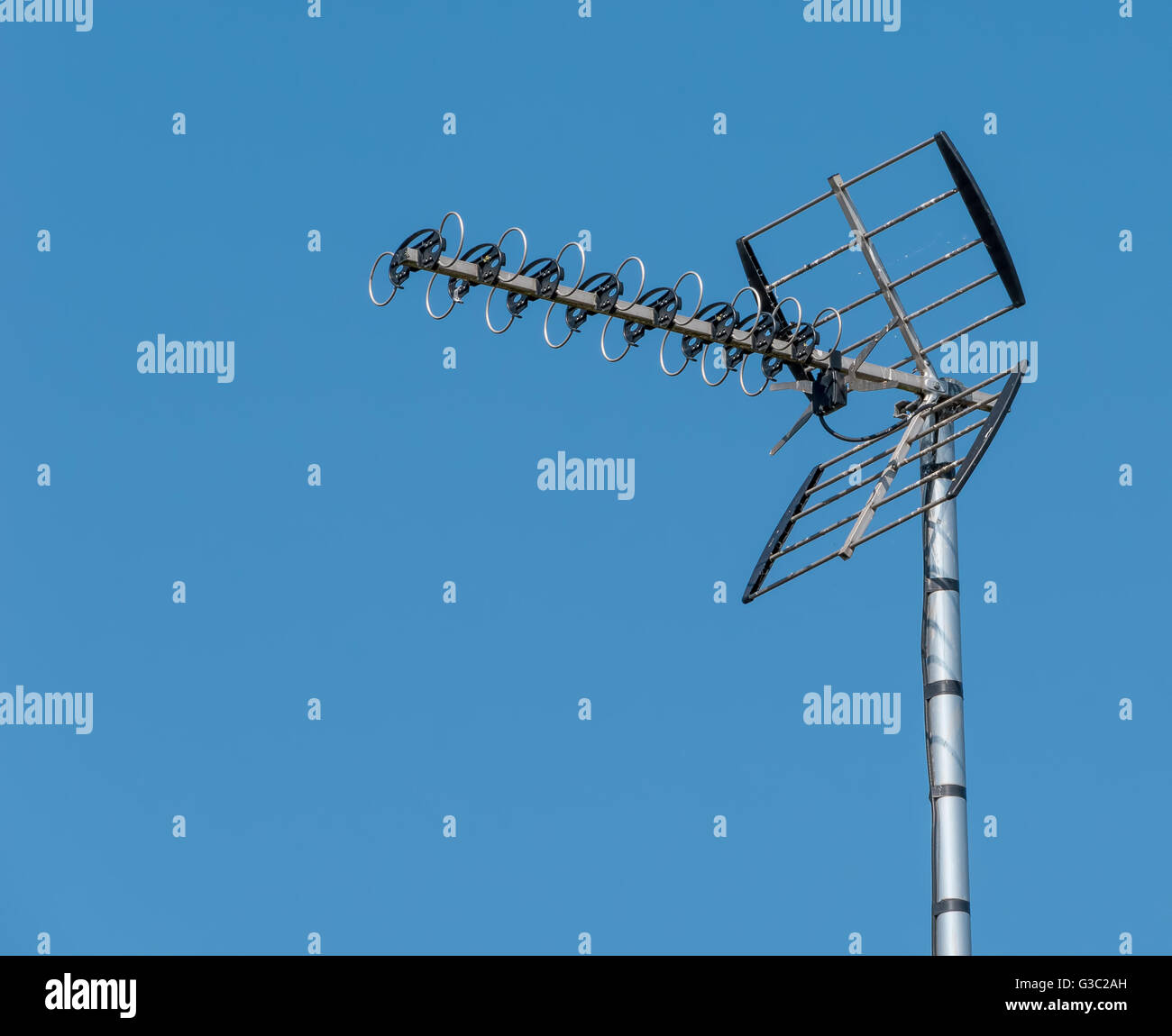 Outdoor TV Aerial mounted on a pole - Stock Image