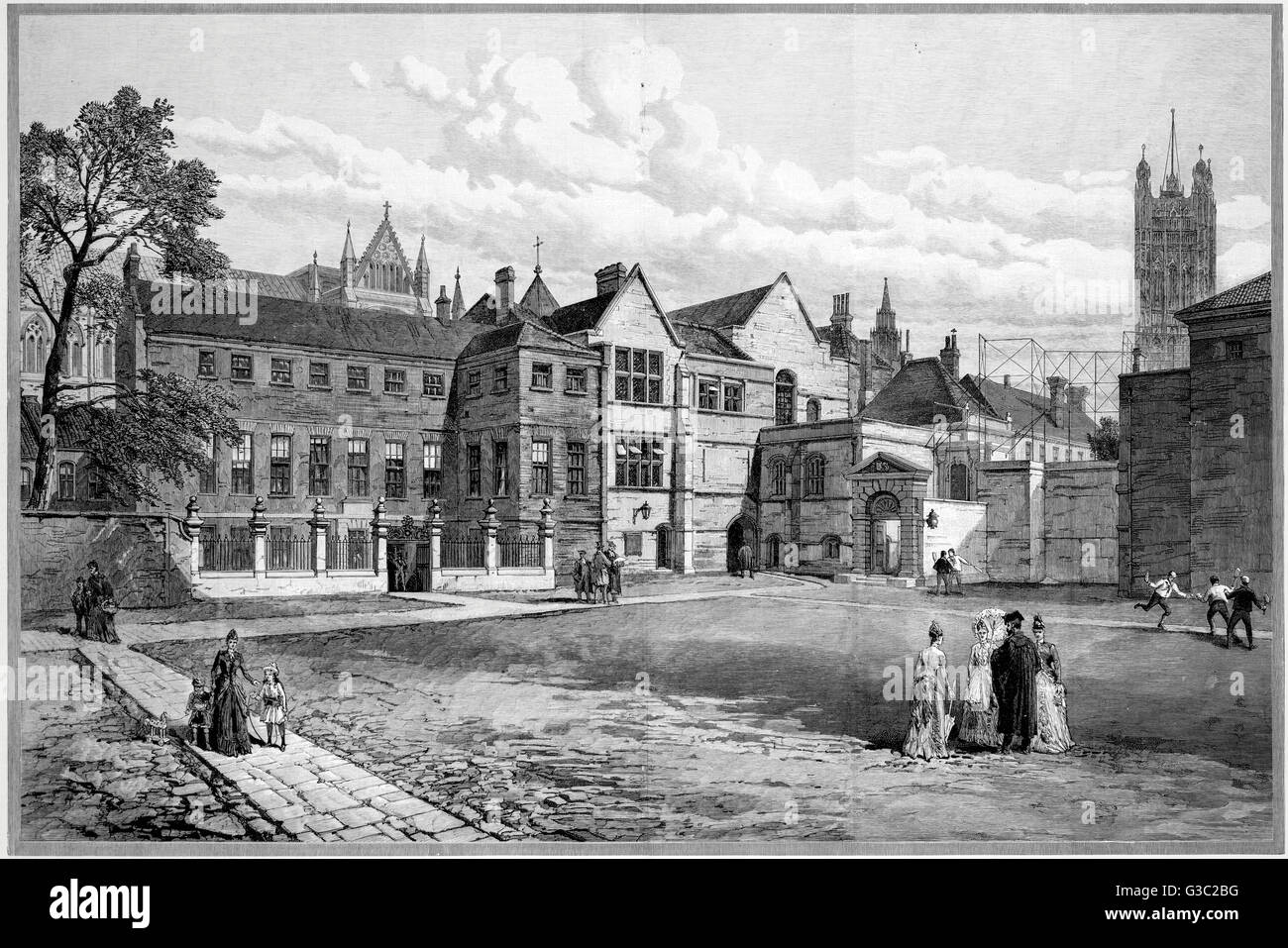 Little Dean's Yard at Westminster School (The Royal College of St. Peter in Westminster), Westminster, London, - Stock Image