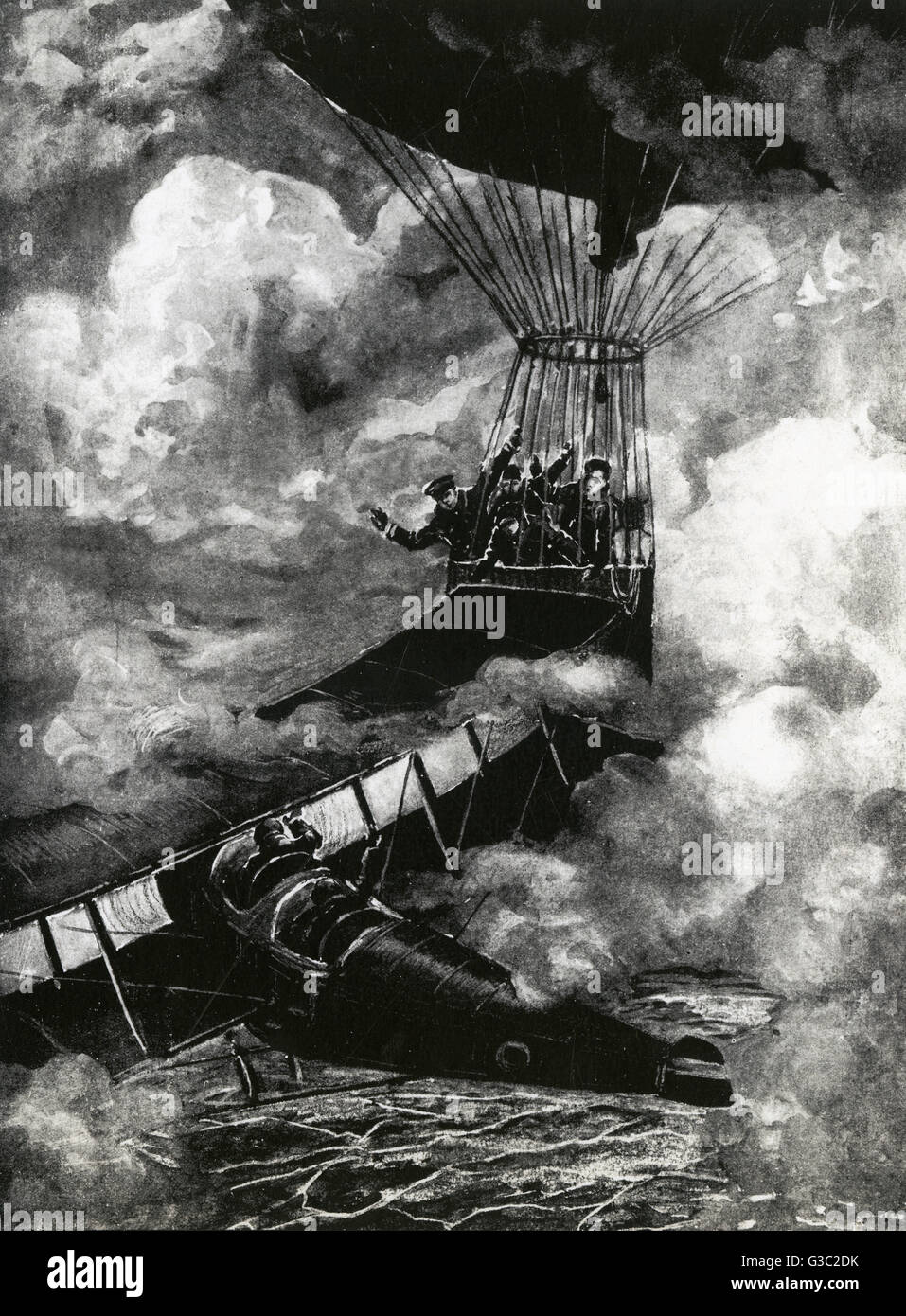 WW1 - A depiction of a close aeronautic encounter between a aeroplane and balloon hidden from each other in the - Stock Image