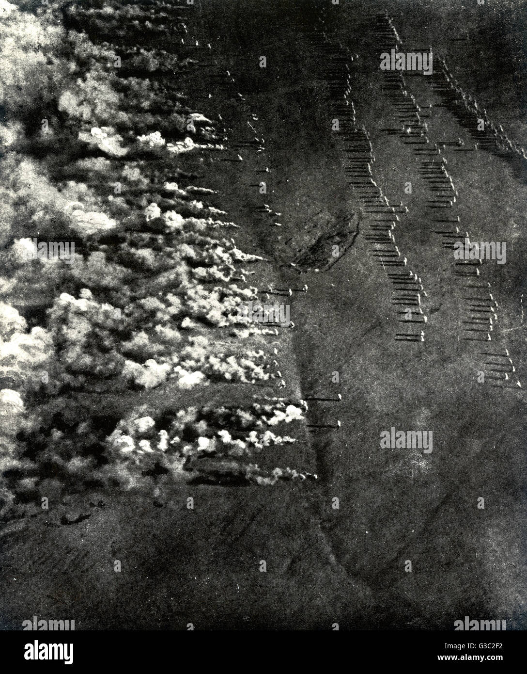 WW1 - Illustrating a gas attack in the eastern war zone from an aerial viewpoint. The poisonous cloud rolls before - Stock Image