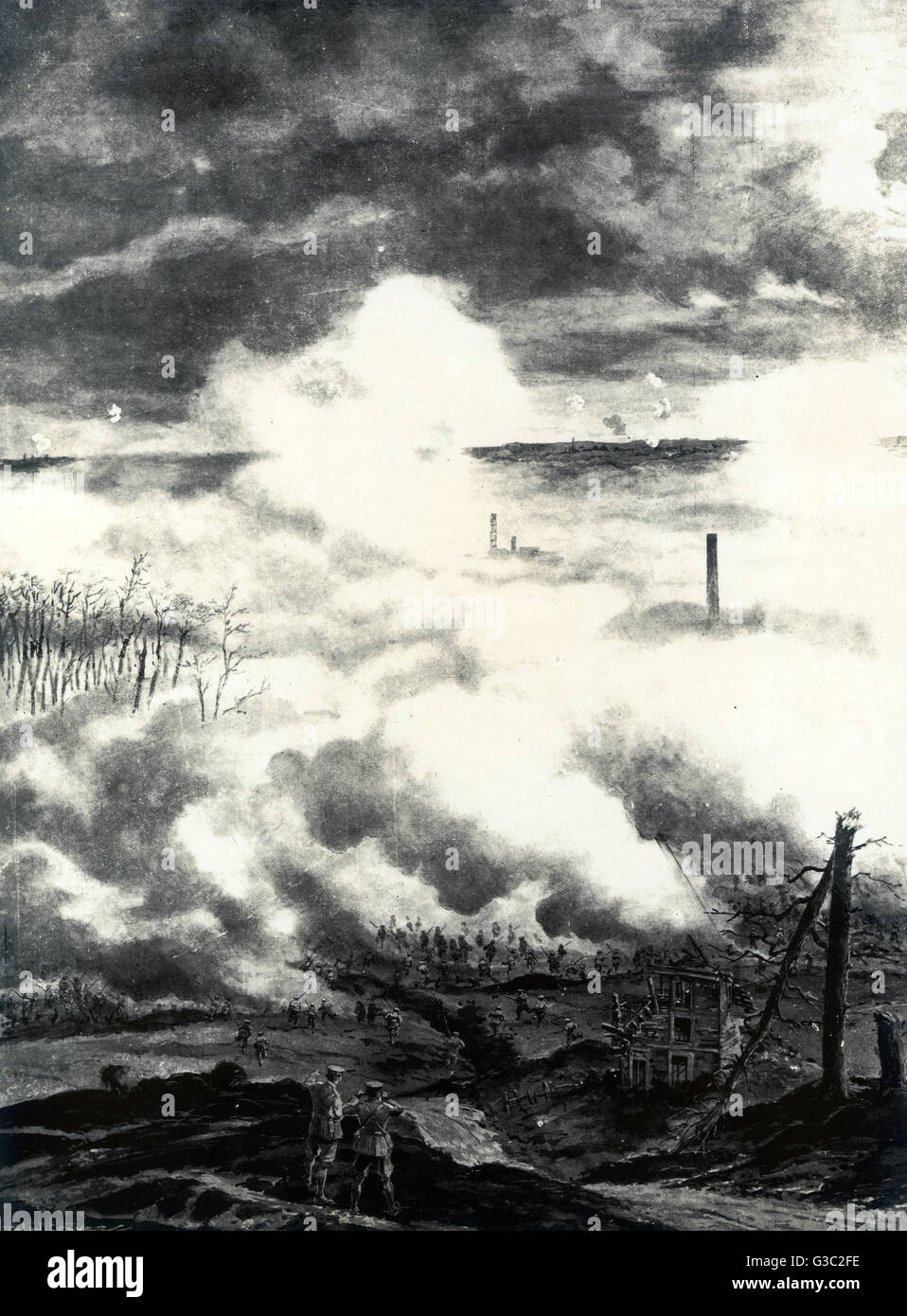 WW1 - The British army charging under cover a cloud of gas smoke, using the German Infantry's battle tactics - Stock Image
