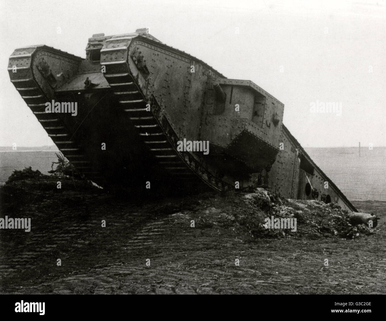 WW1 - British Mark IV tank, also known as the 'Tadpole'. The Mark IV was first used in mid 1917 at the Battle - Stock Image
