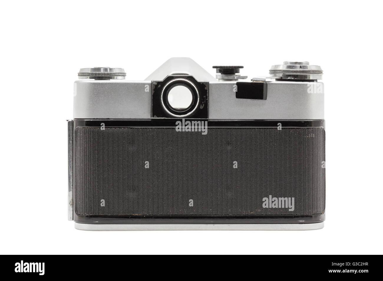 Retro soviet film camera isolated on white background. Soviet reflex camera. Back side view - Stock Image