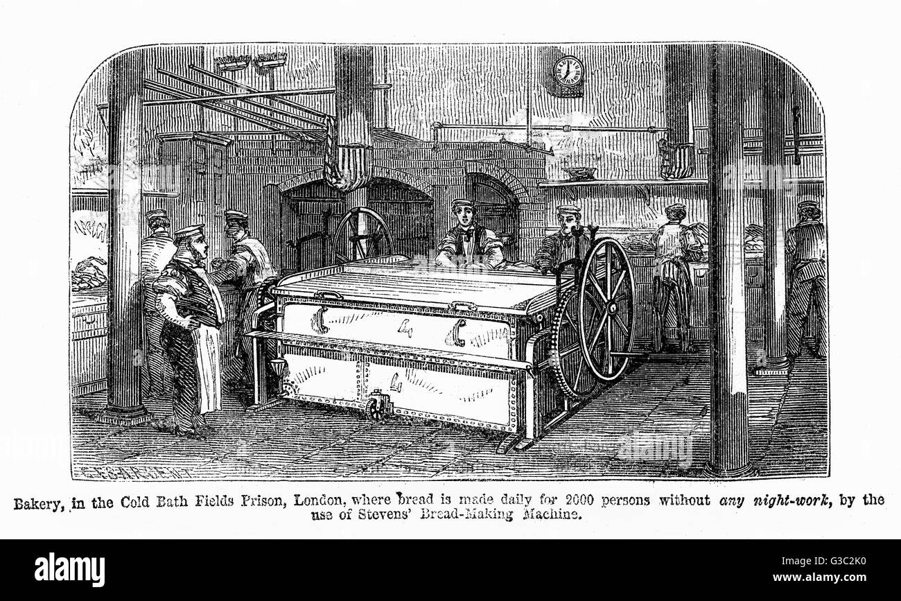 Bakery in the Cold Bath Fields Prison, London, where bread is made daily for 2,000 persons without any night work, - Stock Image