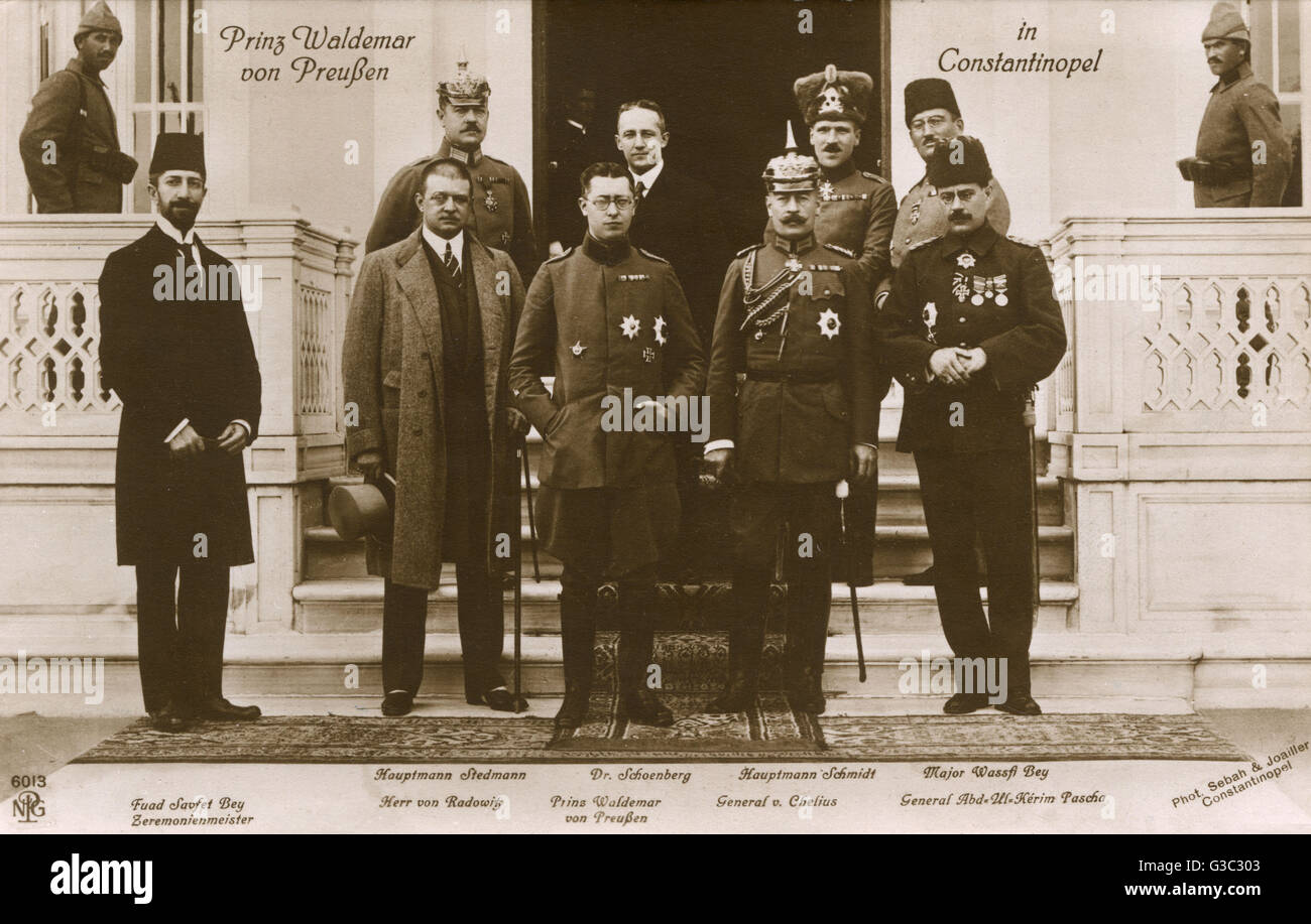Prince Waldemar of Prussia visiting Istanbul. Waldemar (1889-1945) was the eldest son of Prince Henry of Prussia - Stock Image