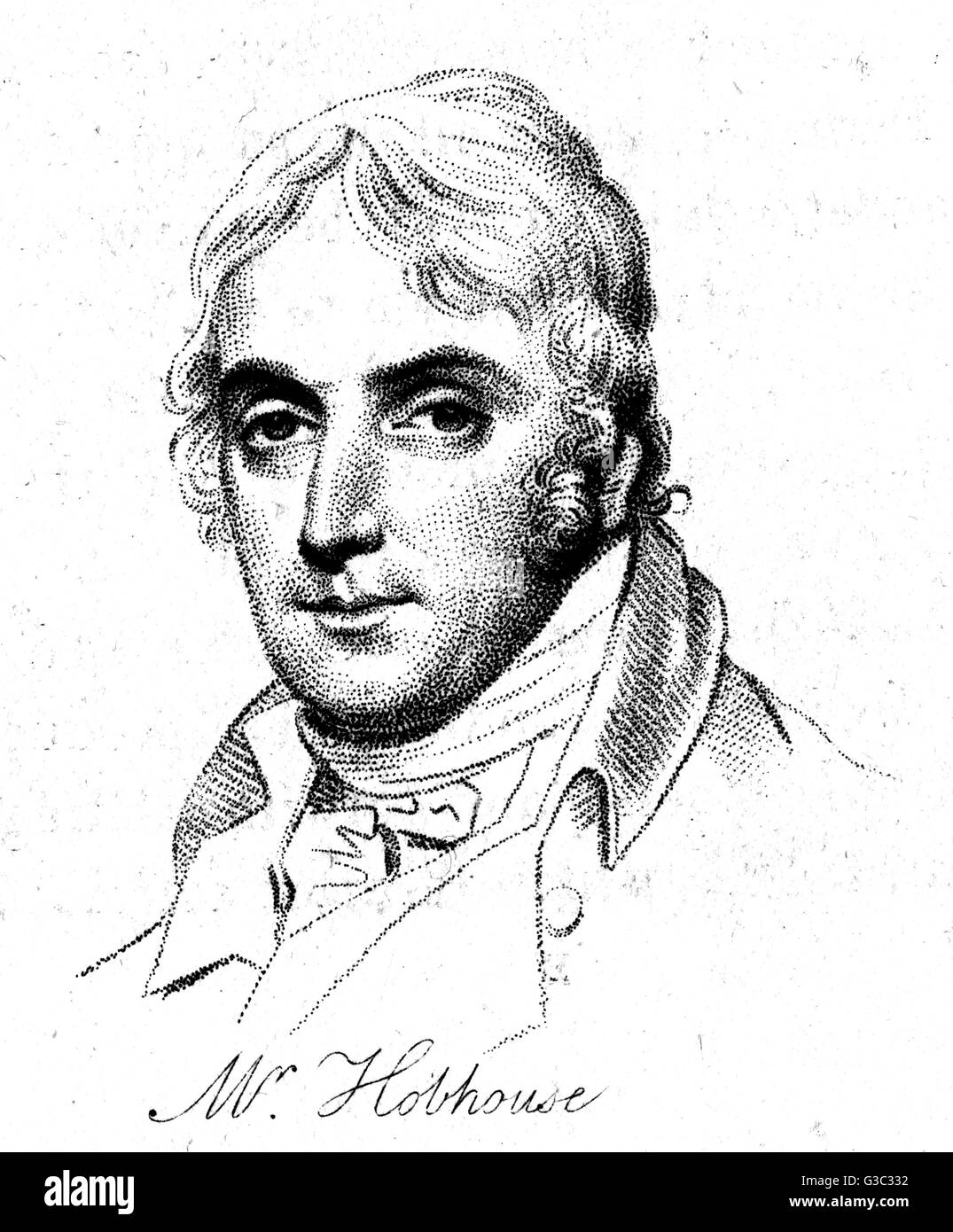 John Cam Hobhouse, 1st Baron Broughton (1786-1869), English radical politician and writer, Secretary of War (1832 - Stock Image