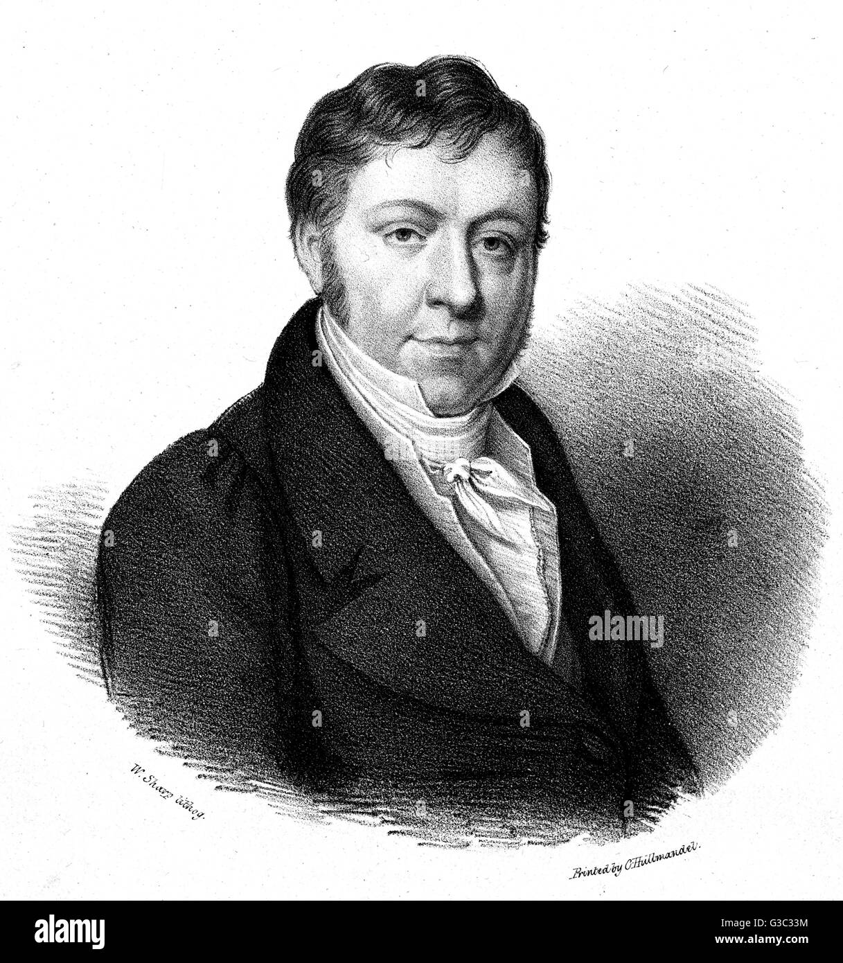 Johann Nepomuk Hummel (1778-1837), he was an Austrian composer and virtuoso pianist, his music shows the change - Stock Image