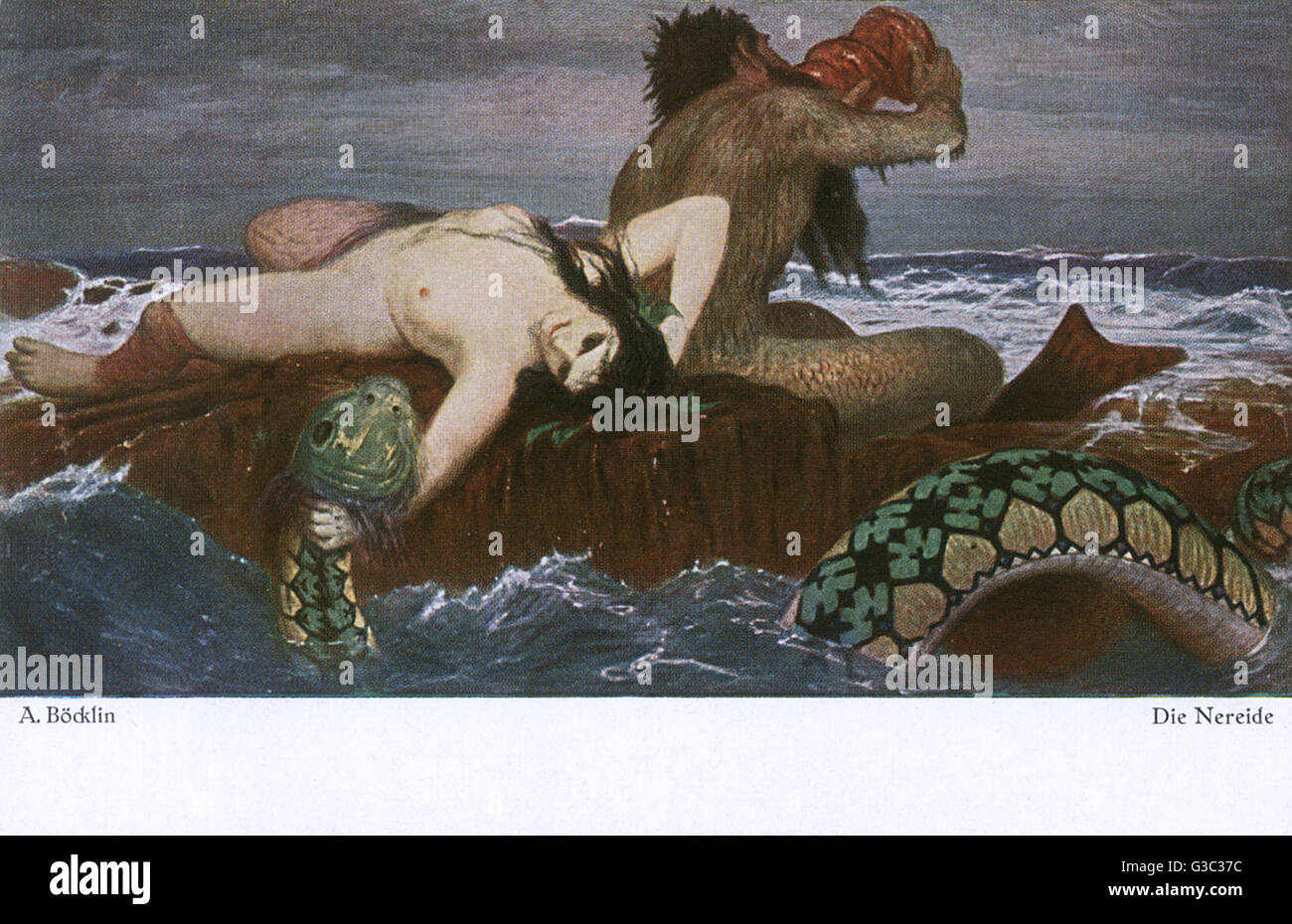 "Reproduction of a work by Arnold Bocklin (18271901) a Swiss symbolist painter, entitled ""Triton and Nereid"". - Stock Image"