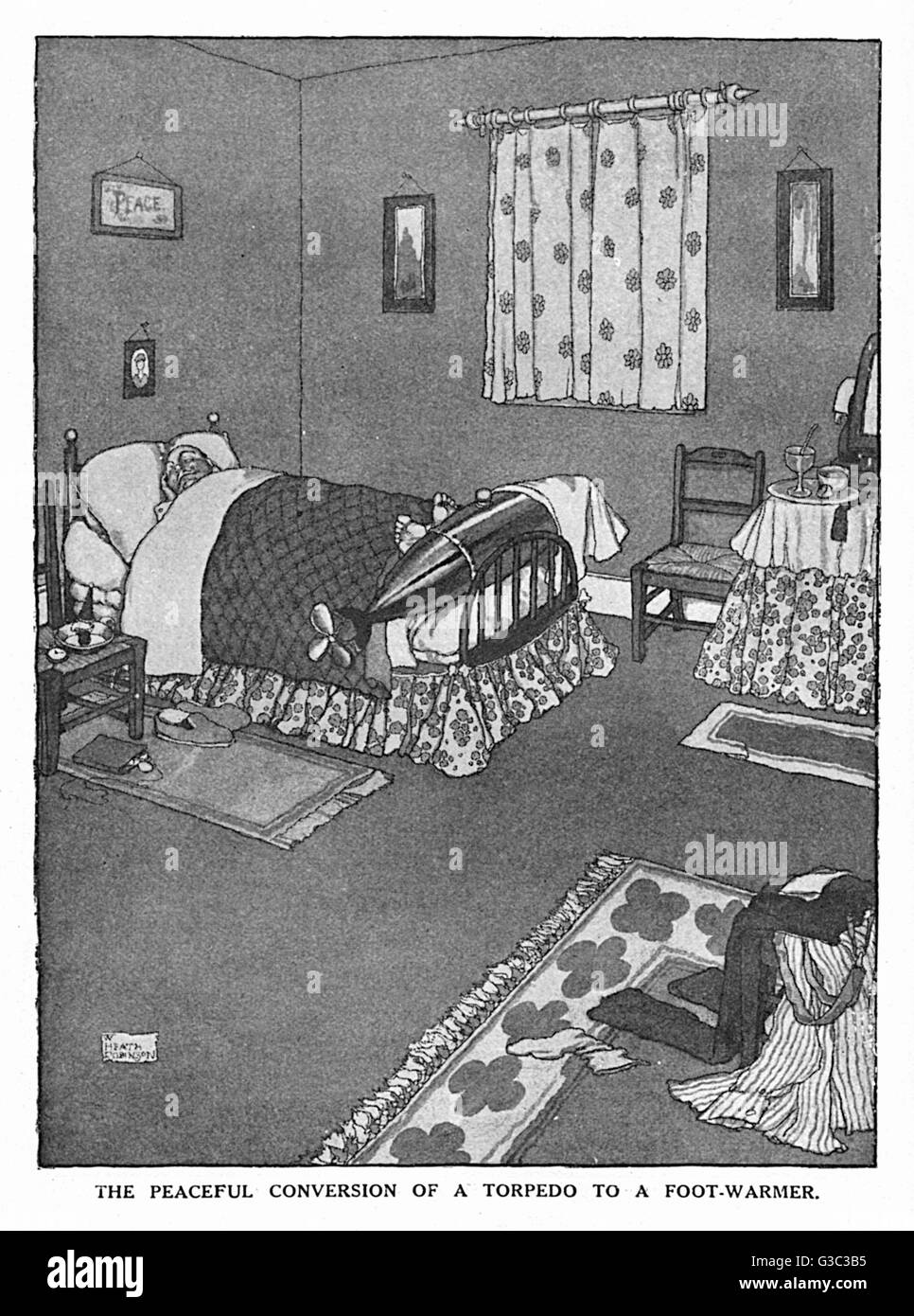 The Peaceful Conversion of a Torpedo to a Foot-Warmer.  One of a series of ideas suggested by William Heath Robinson - Stock Image