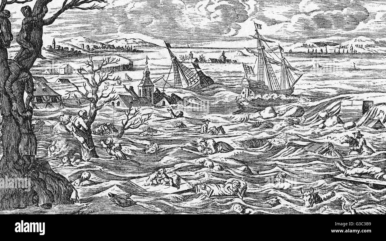 Flooding in Holland and Zeeland, 26th January 1682.     Date: 26th January 1682 - Stock Image
