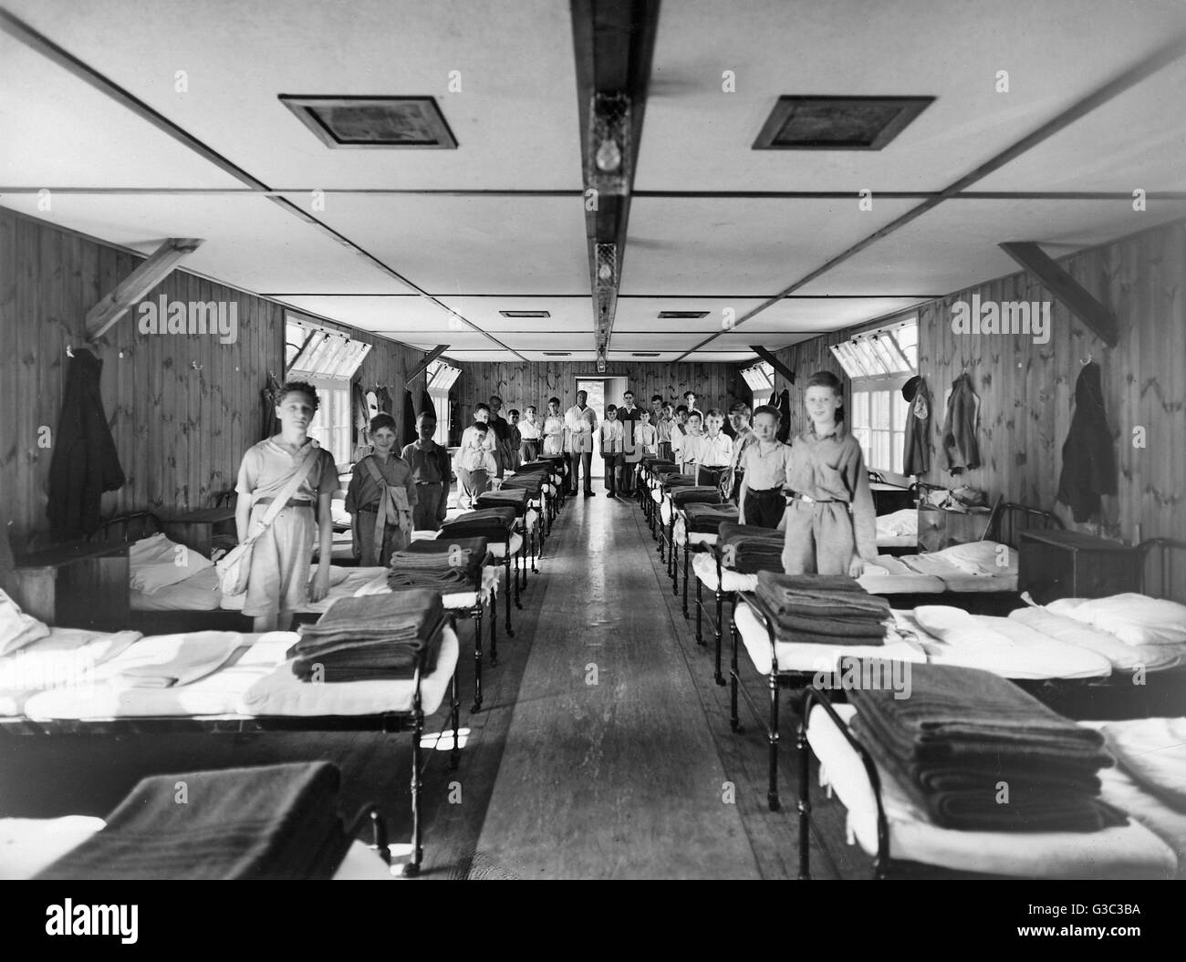 Young Boys in temporary accommodation having been evacuated from a British city.     Date: circa 1941 - Stock Image