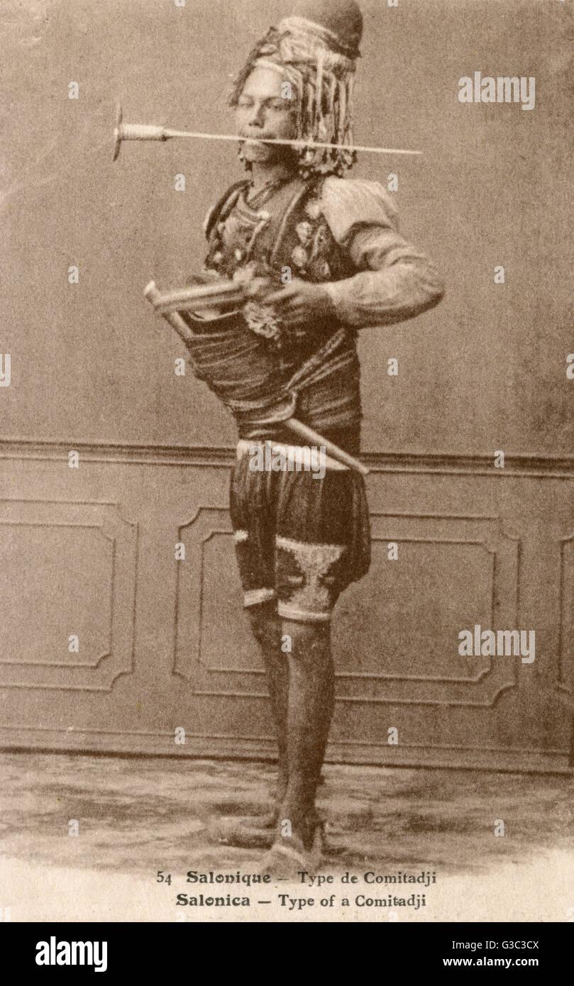 Thessaloniki, Greece - A Komitadji - a member of a rebel band (cheta) operating in the Balkans during the final - Stock Image