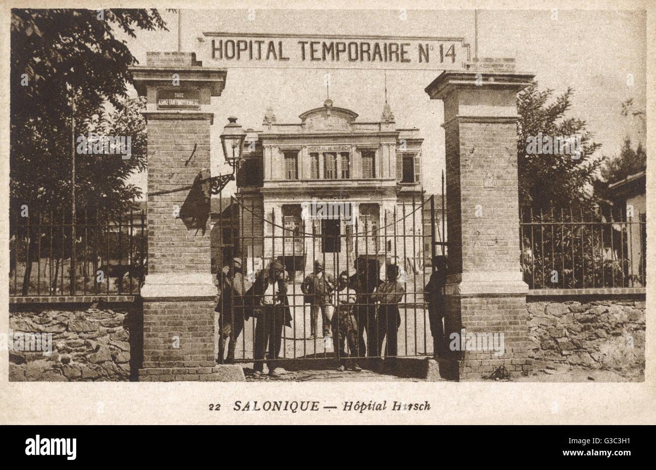 WW1 - Thessaloniki, Greece - Hirsch Hospital - Temporary Hospital No.14     Date: circa 1916 - Stock Image