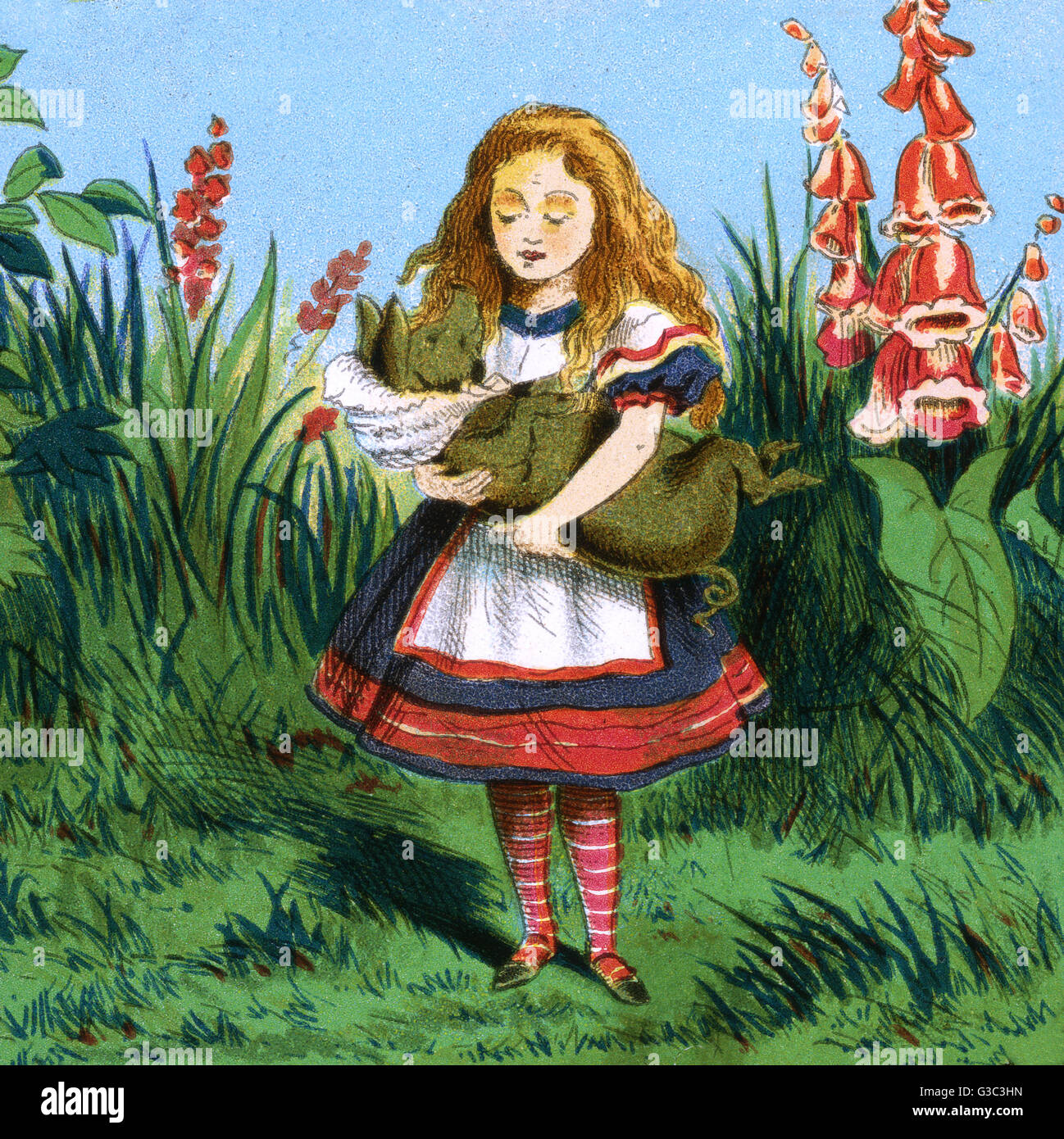Alice in Wonderland, Alice carries the baby which has turned into a pig.      Date: early 20th century - Stock Image