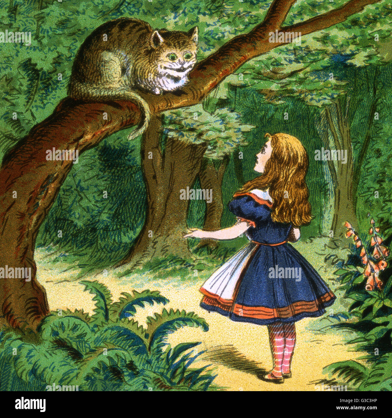 Alice in Wonderland, Alice has a conversation with a Cheshire Cat.      Date: early 20th century - Stock Image