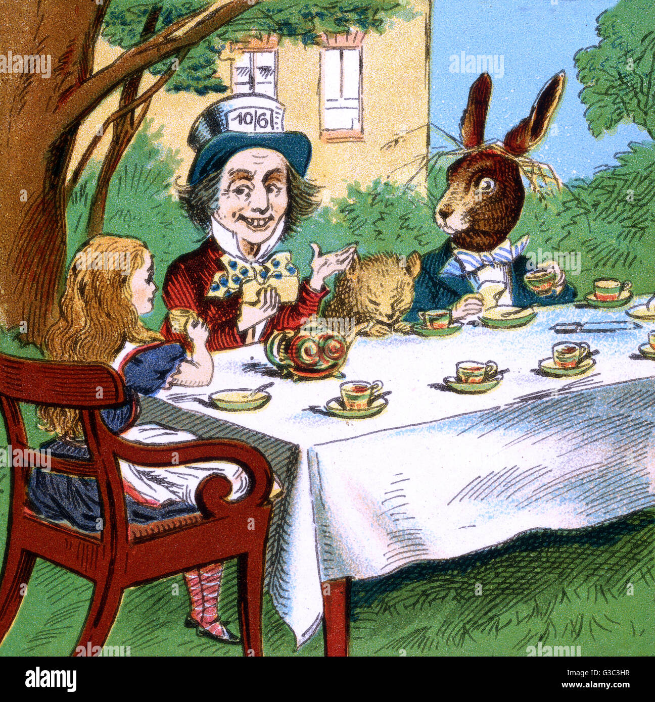 Alice in Wonderland, Alice having tea with the Mad Hatter, the Dormouse and the March Hare.      Date: early 20th - Stock Image