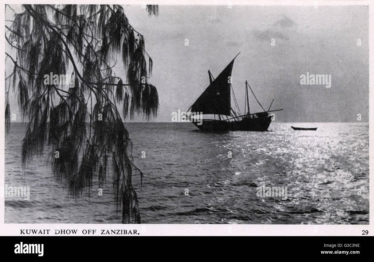 Kuwait dhow off Zanzibar, Tanganyika, British East Africa (now Tanzania).      Date: circa 1950 - Stock Image