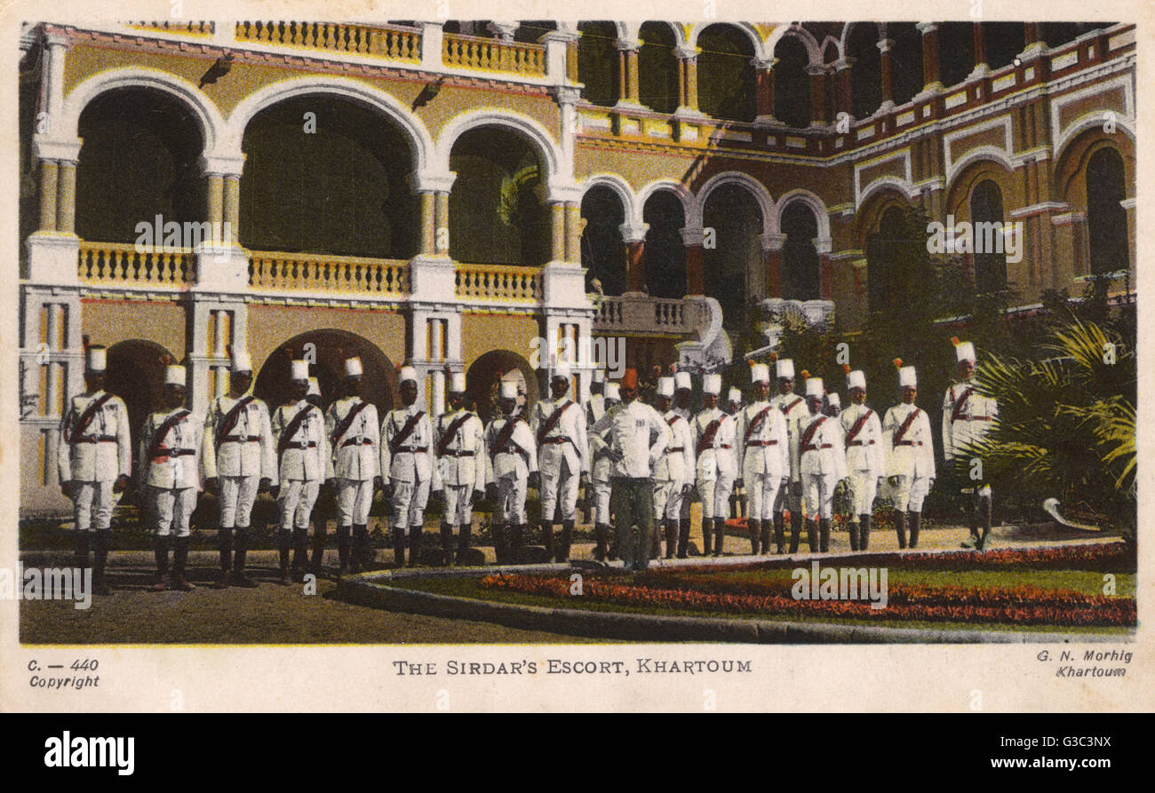 The Sirdar's Escort, outside the Palace Residence in Khartoum, Anglo-Egyptian Sudan.  At this time the Governor - Stock Image