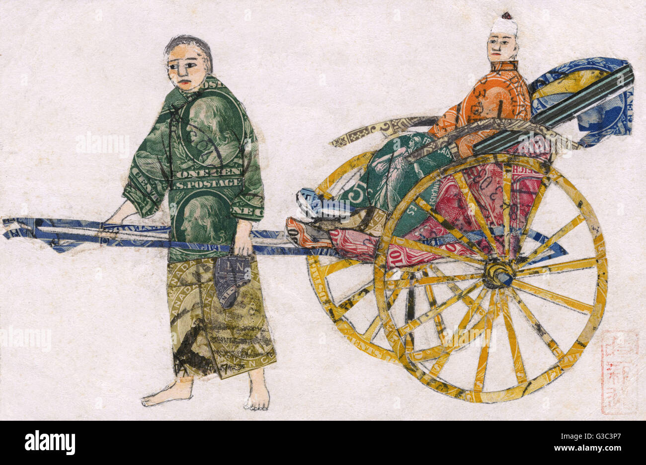 Rickshaw scene made from used postage stamps, China.      Date: circa 1905 - Stock Image