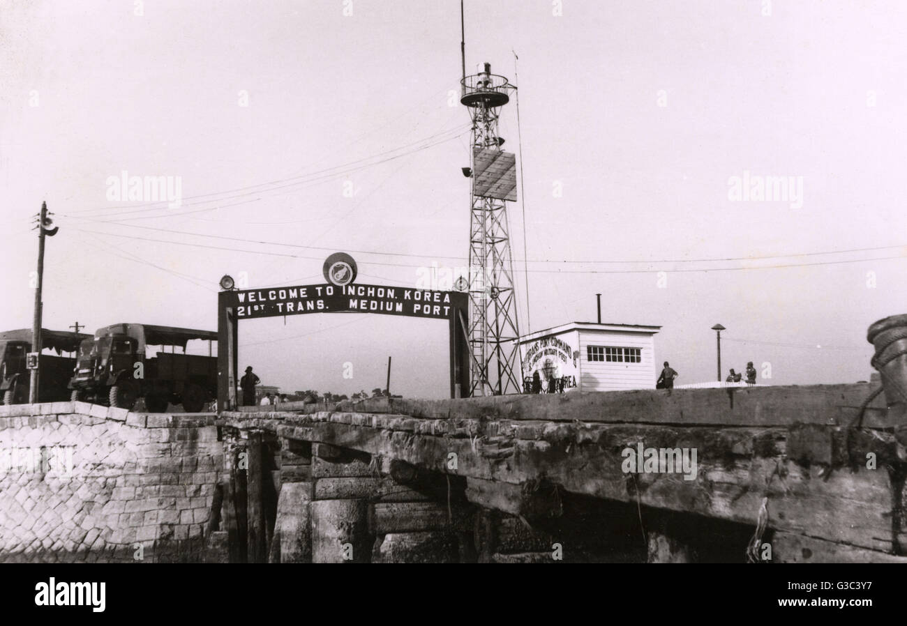 Inchon (Incheon) Military Port, 21st Transportation Medium Port, South Korea, July 1954.  It was a US Army command - Stock Image