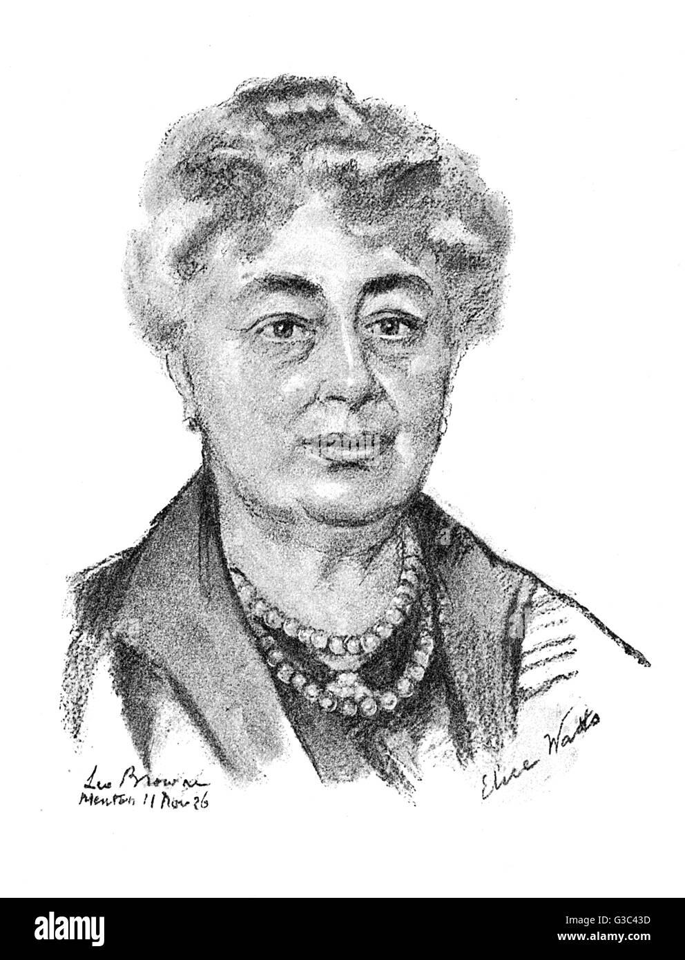 Lady Elise Isabelle Watts FRGS (nee Simonau, 1863-1930), Belgian-born artist.      Date: 1925 - Stock Image
