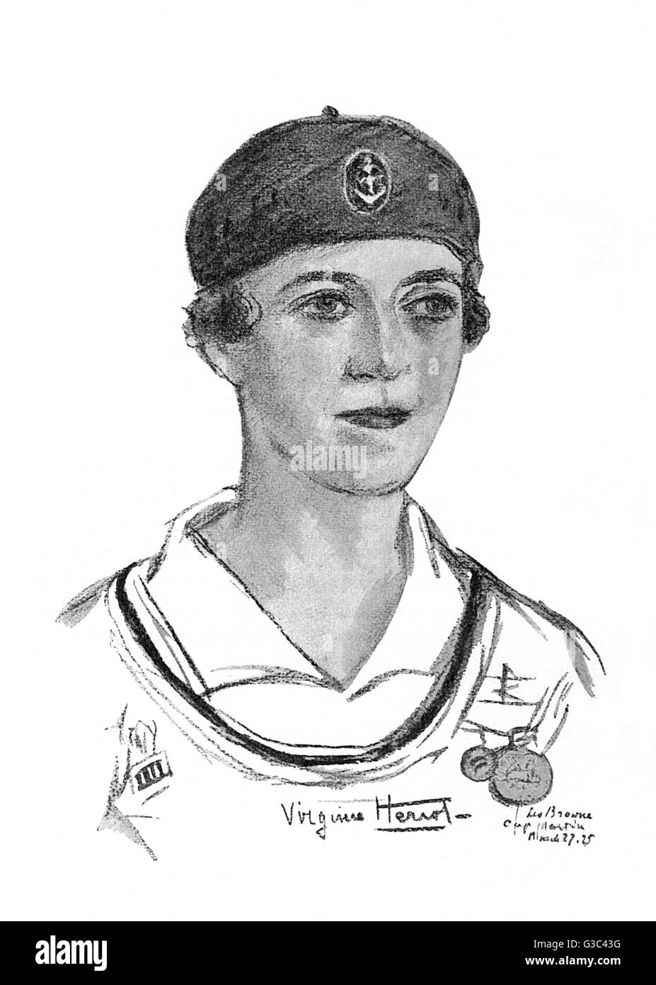 Virginie Claire Desiree Marie Heriot (1890-1932), French yachtswoman who won a gold medal in the 1928 Summer Olympics - Stock Image