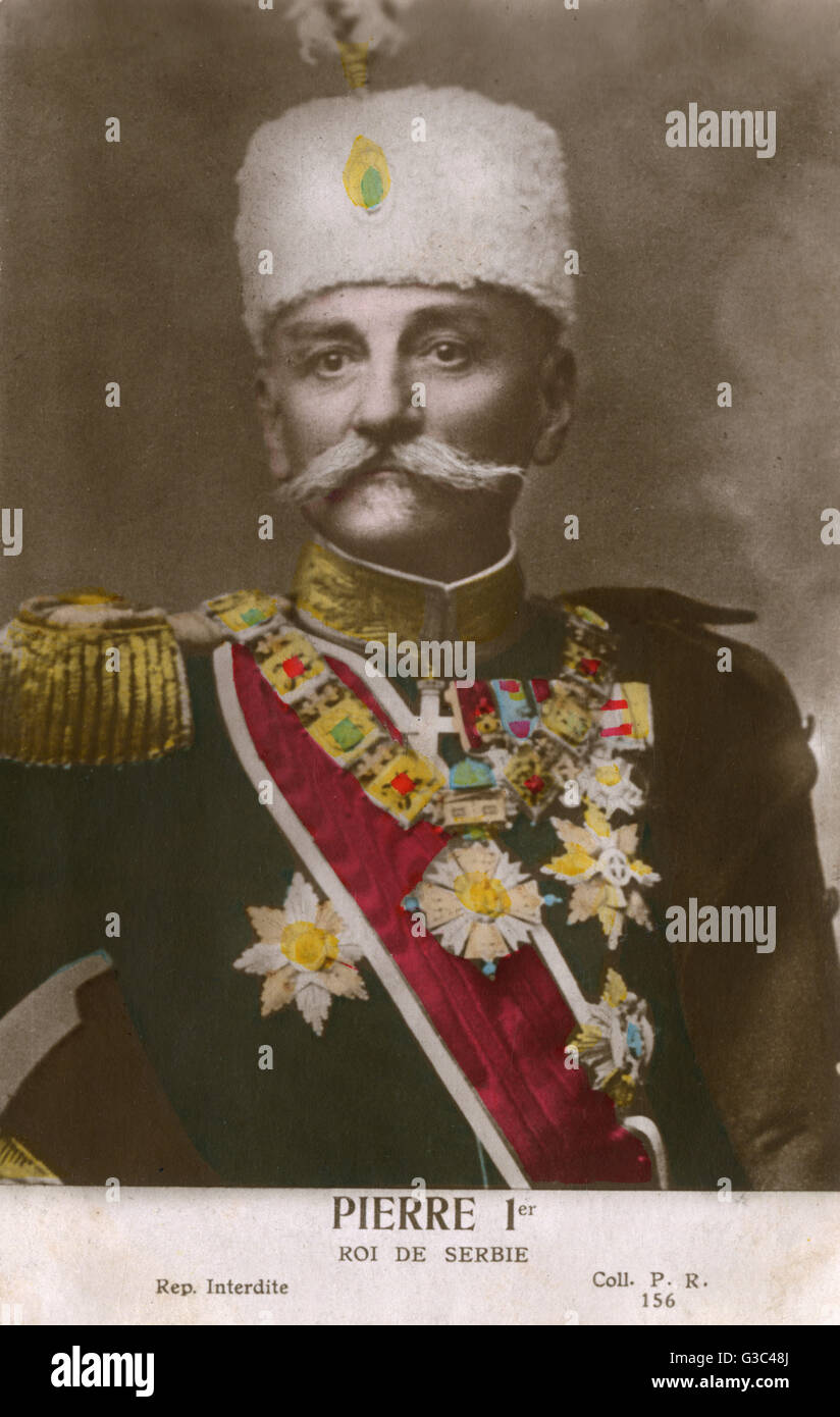 A rather splendid hand-tinted photographic portrait of King Peter I of Serbia (1844-1921, reigned from 1903 - 1921) - Stock Image