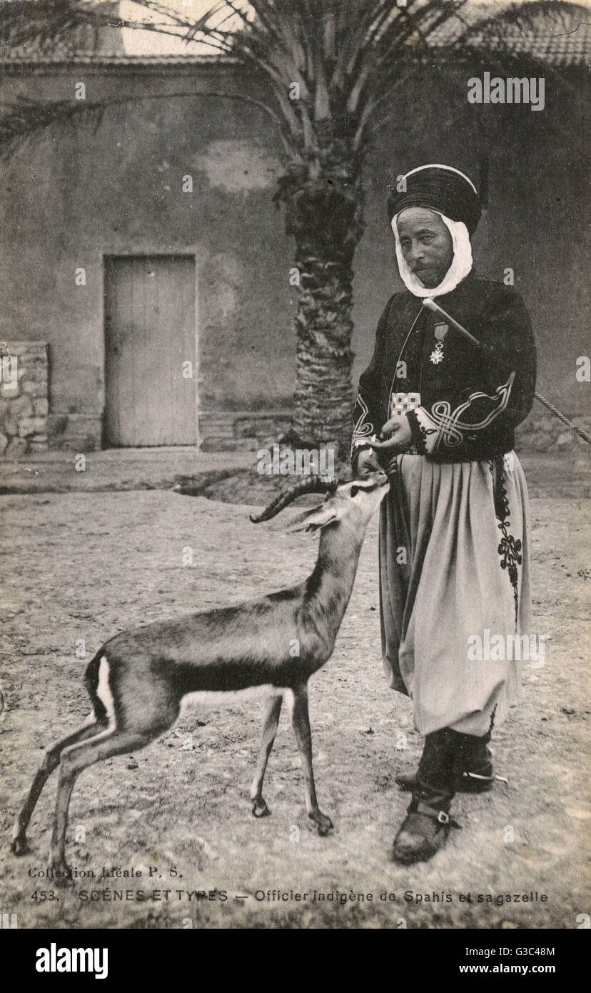 Tunisian Spahi Officer with his pet Gazelle - Tunisia. Spahis were light cavalry regiments of the French army recruited - Stock Image