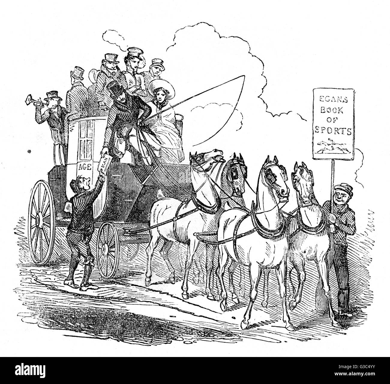 Illustration to the opening page of Pierce Egan's Book of Sports, showing people on a stagecoach on their way - Stock Image
