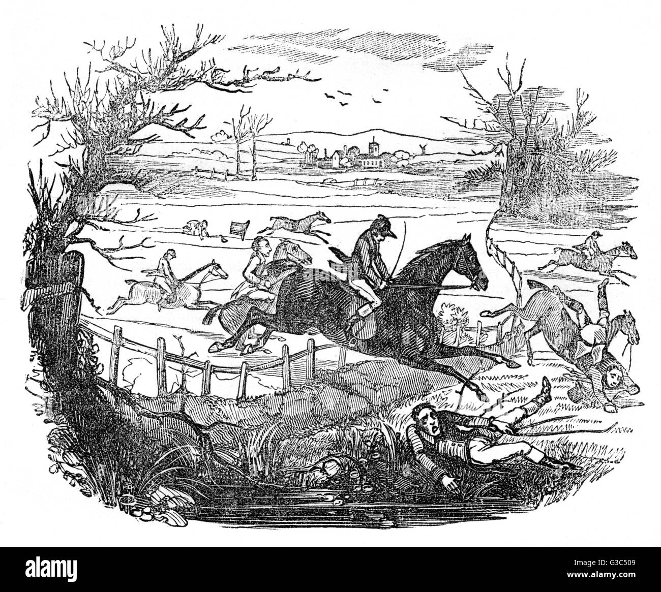 Illustration, Steeplechase at St Albans (or rather in the surrounding countryside) on 8 March 1832, with nineteen Stock Photo