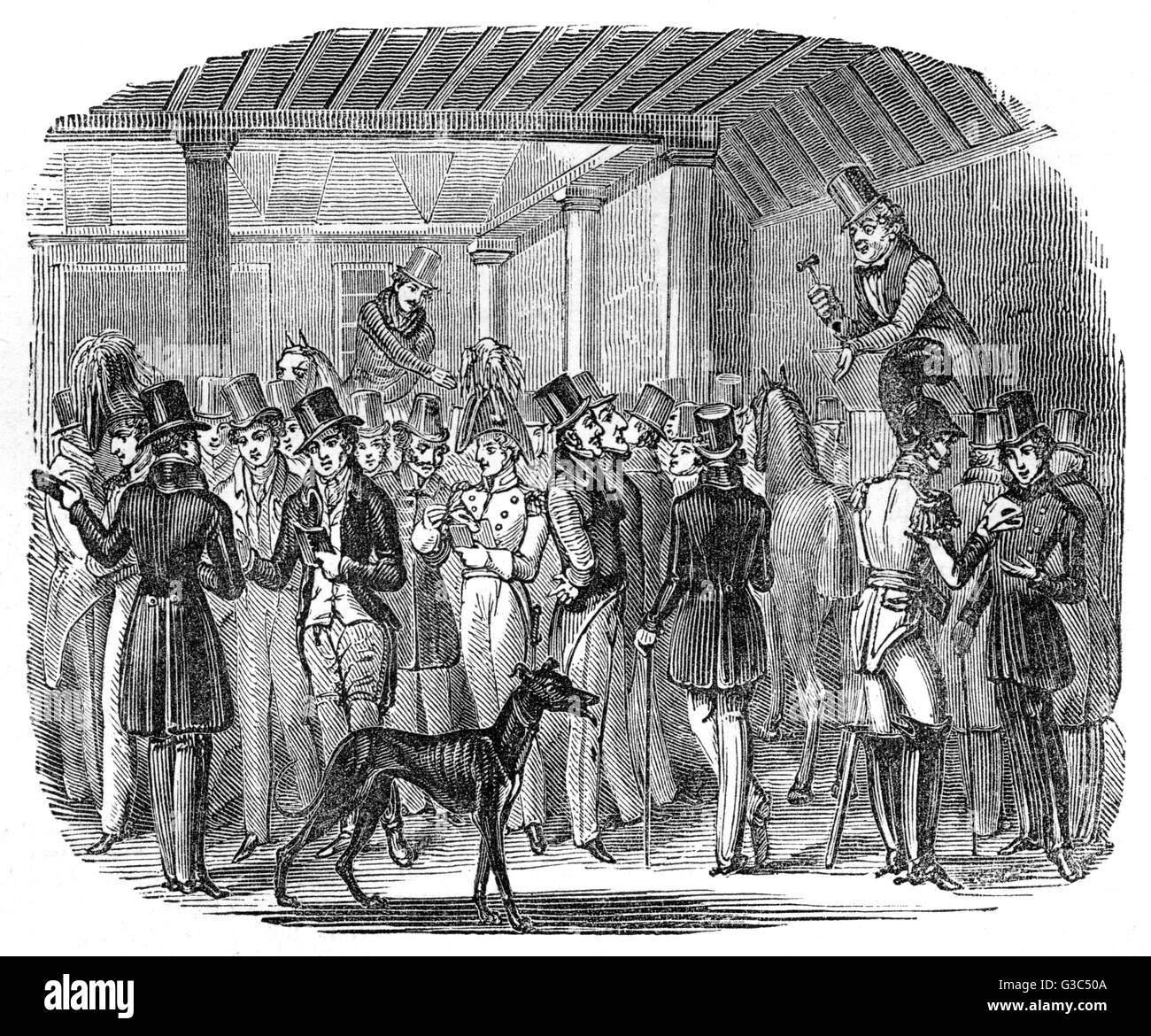 Illustration, Tattersall's, or, a Glance at the Settling Day after the Derby Race -- Felix Qui Nihil Debet (happy - Stock Image