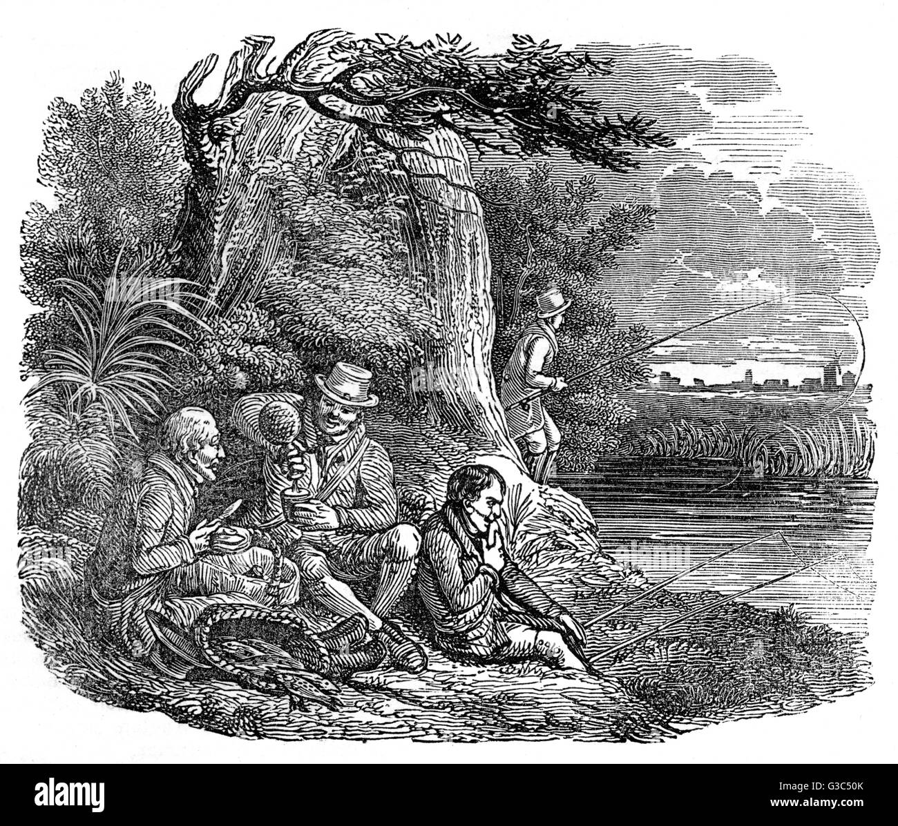 Illustration, The Jolly Anglers, showing a happy group of men fishing and relaxing on a riverbank.      Date: 1832 - Stock Image