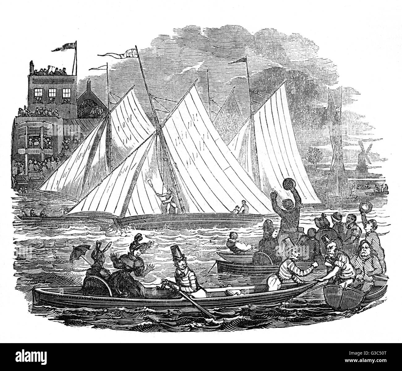 Illustration, people boating on the River Thames, with a sailing match in progress.      Date: 1832 - Stock Image