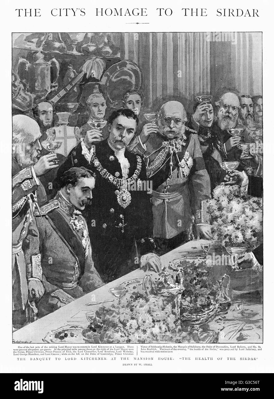 The retiring Lord Mayor entertains Lord Kitchener - who had just returned victorious from a campign in Sudan - with - Stock Image